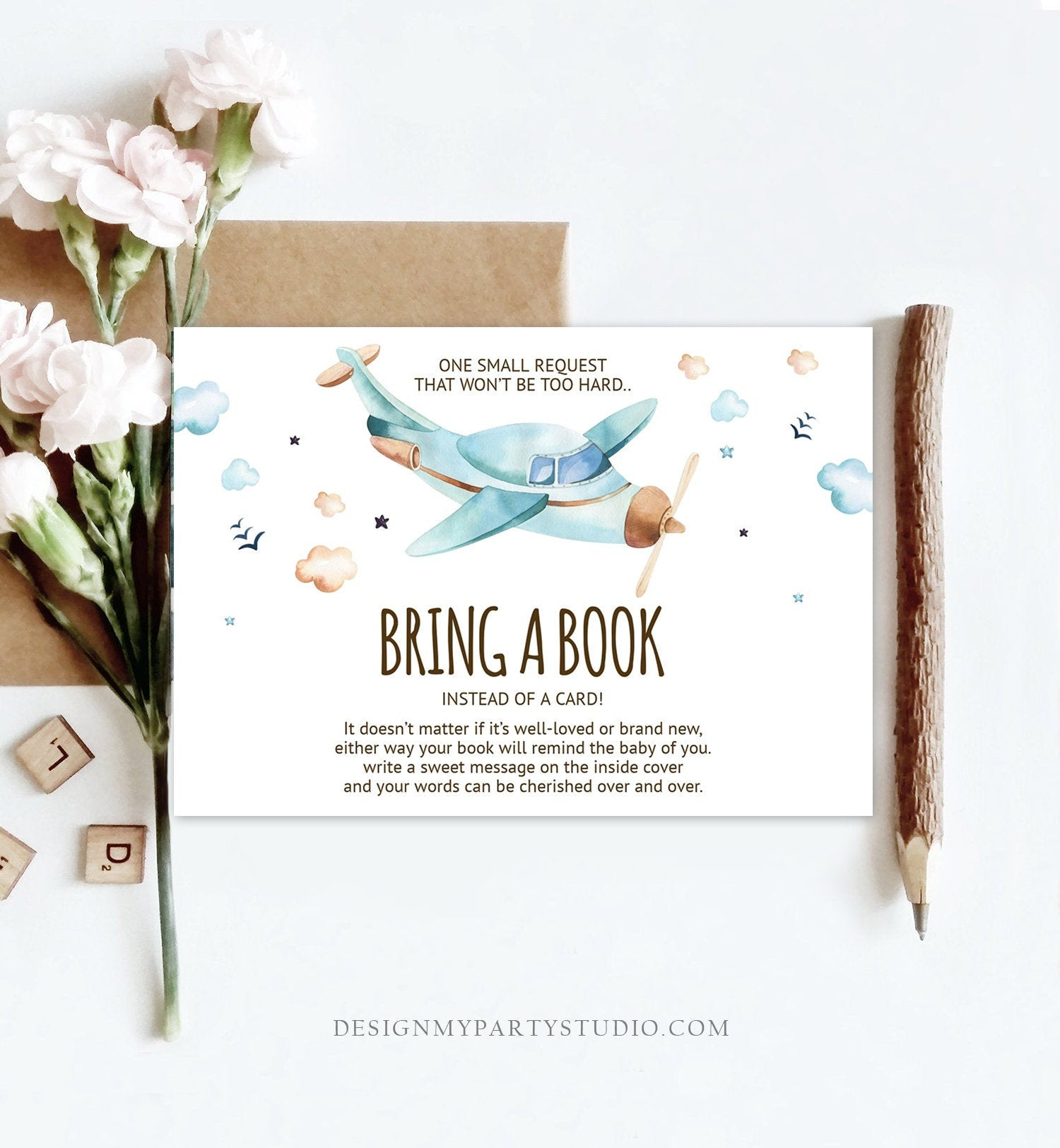 Editable Bring a Book Card Airplane Baby Shower Boy Vintage Travel Adventure Baby Book Insert Books for Baby Corjl Template Printable 0185