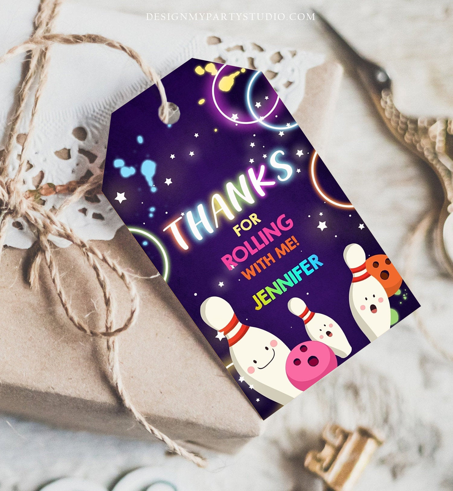 Editable Bowling Favor tags Neon Glow Birthday Girl Bowling Thank you tags Label tags Neon Pink Rolling With Me Labels Template Corjl 0172