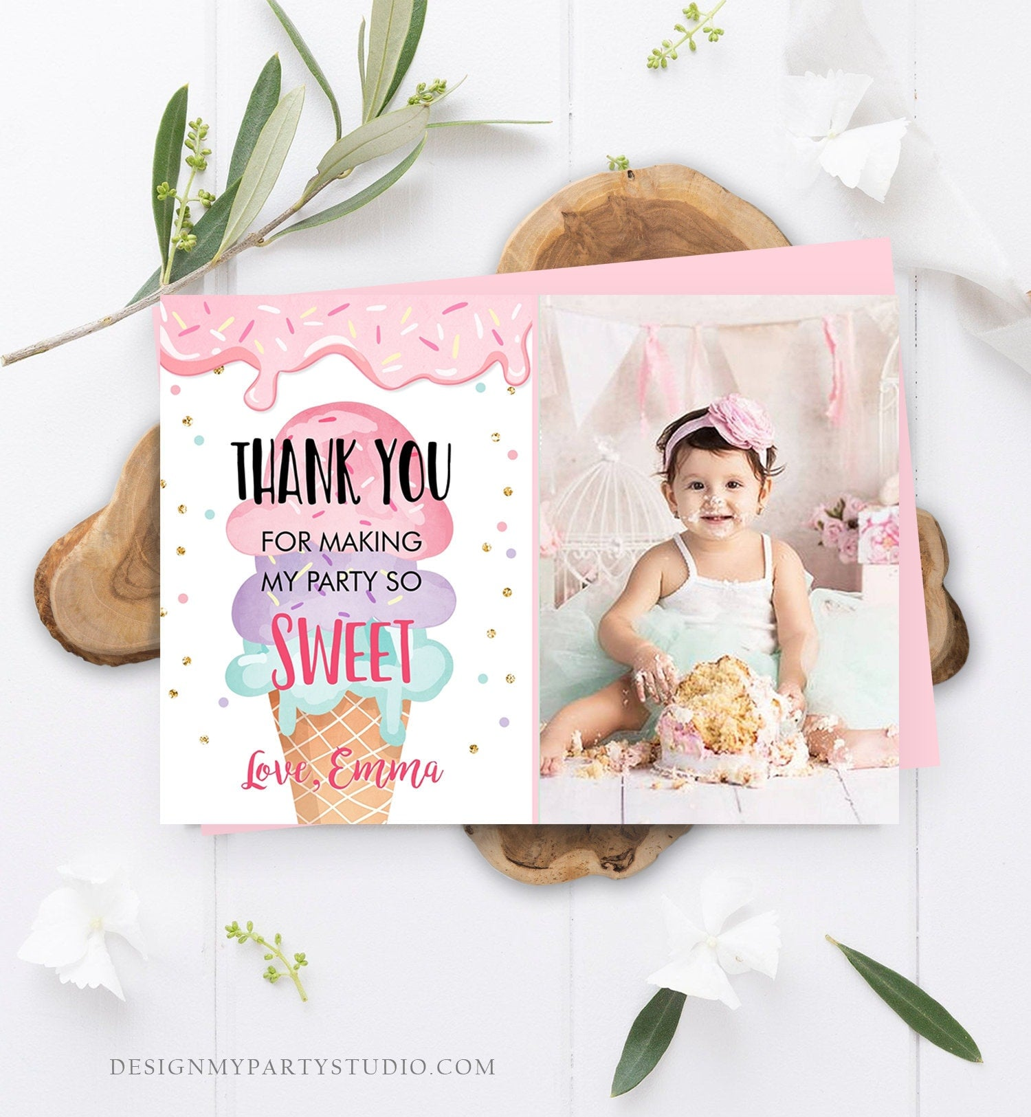 Editable Ice Cream Thank You Card Ice Cream Birthday Thank you Note Girl Birthday Summer Download Printable Template Digital Corjl 0243