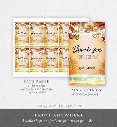 Editable Tropical Havana Favor Tags Thank You Tag Birthday Bridal Shower Cuban Sea Beach Dancing Party Palm Pink Orange Corjl Template 0176