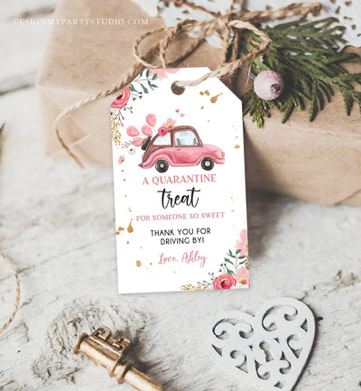 Editable Drive By Favor Tag Drive Through Baby Shower Bridal Shower Birthday Thank You Gift Tags Quarantine Pink Floral Girl Corjl 0335