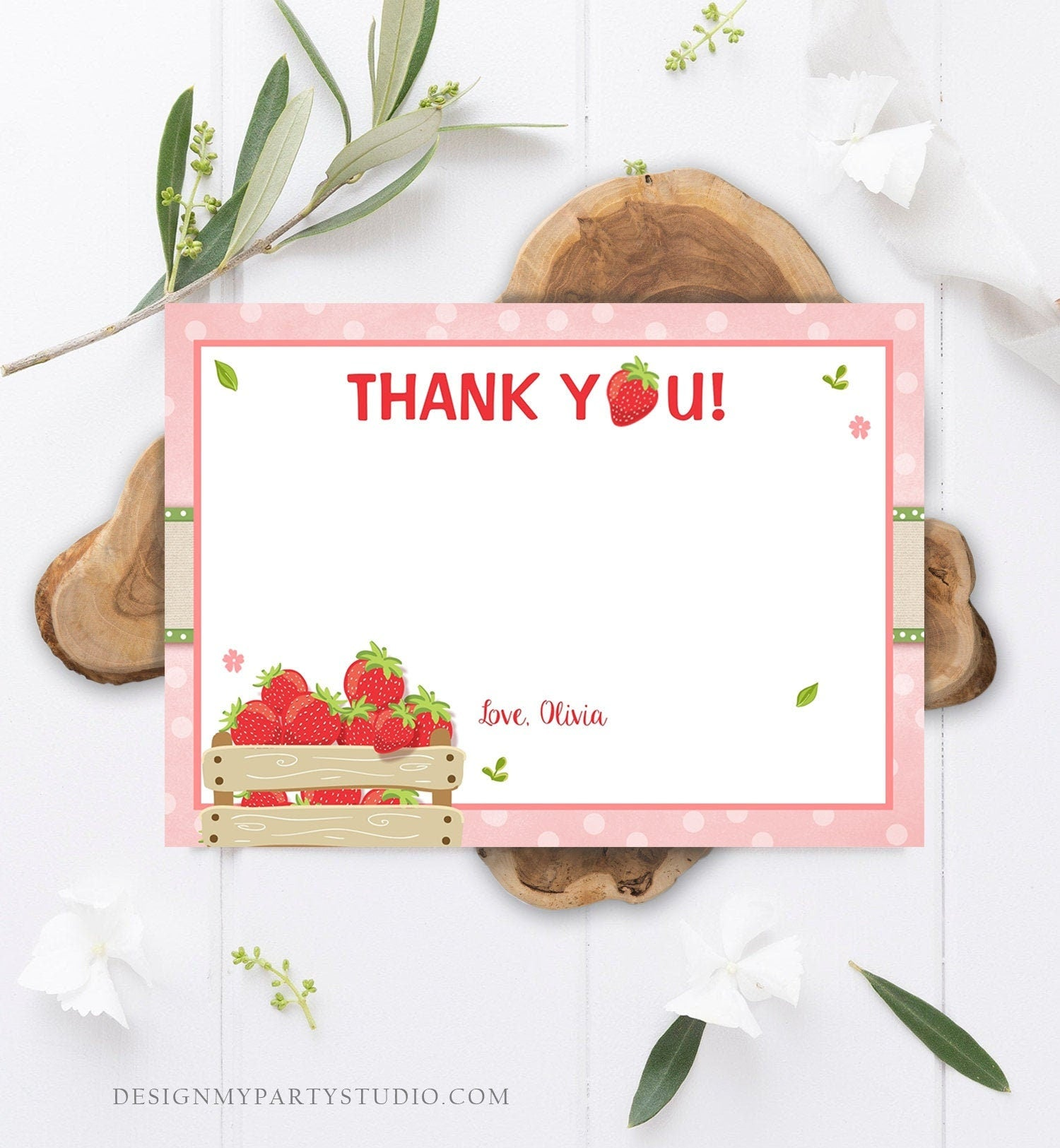 Editable Strawberry Thank You Card Birthday Strawberry Birthday Farmers Market Girl Berry Sweet Download Printable Template Corjl 0091