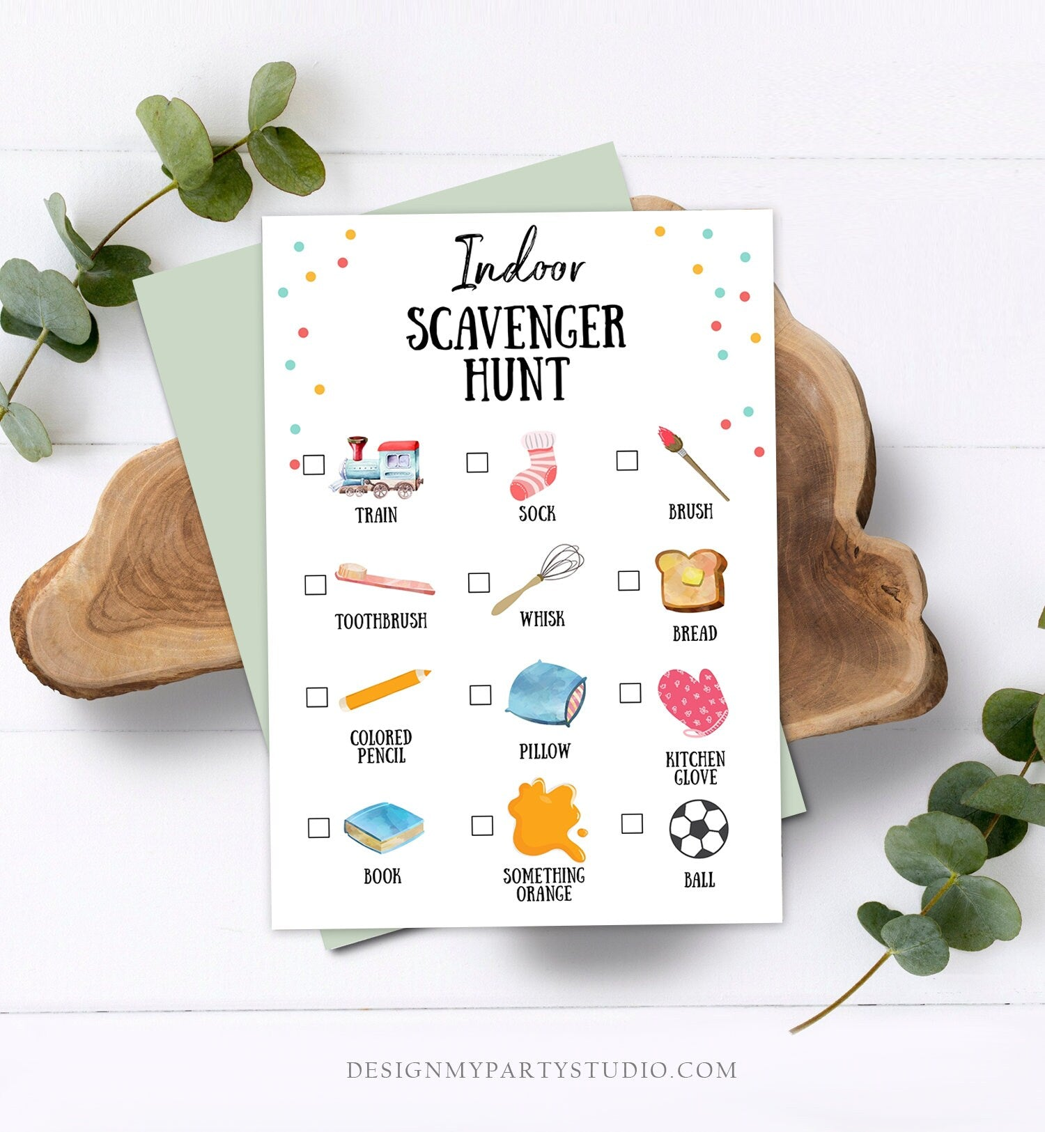 Editable Indoor Scavenger Hunt for Kids Preschool Game Toddler Activity Printable Game Day Play Activities for Kids Download Corjl Template