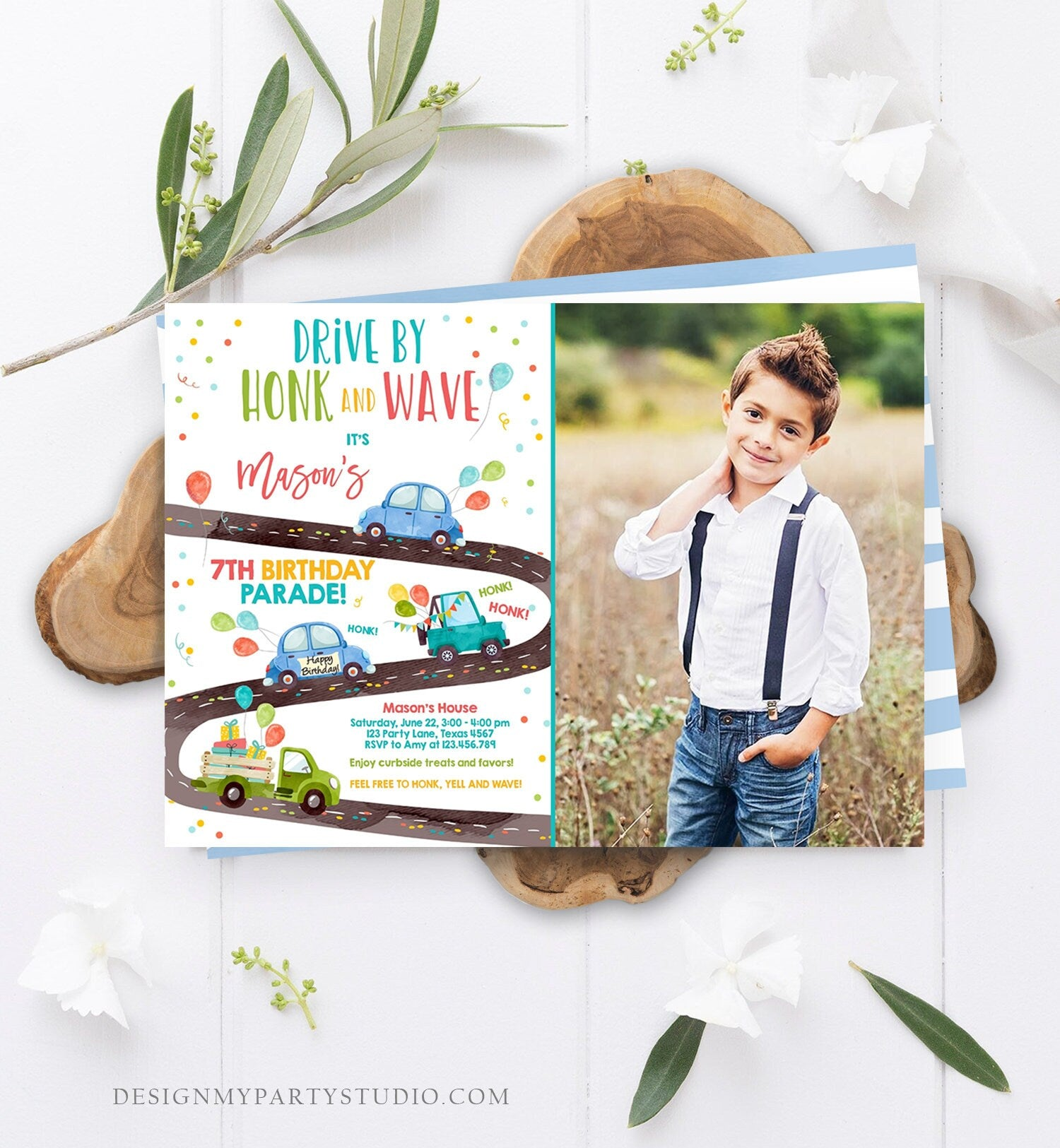 Editable Drive By Birthday Parade Invitation Virtual Party Invite Honk Wave Car Boy Blue Quarantine Instant Download Digital Corjl 0333