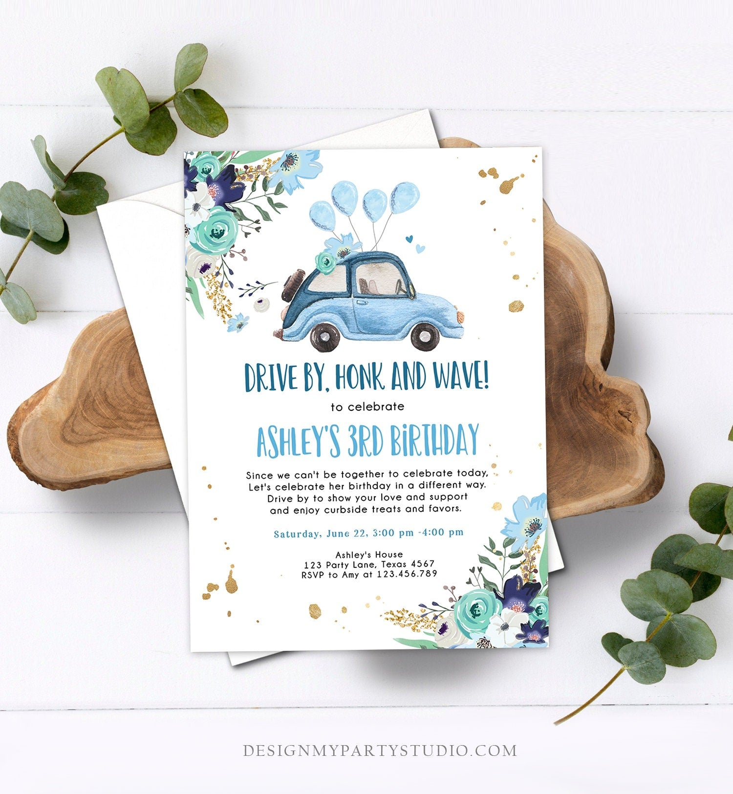 Editable Drive By Birthday Parade Invitation Virtual Party Invite Honk Wave Car Girl Blue Quarantine Instant Download Digital Corjl 0335