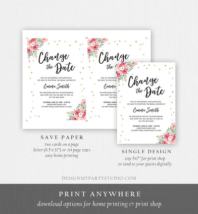 Editable Change the Date Announcement Bridal Shower Wedding Postponement Change of Plans Confetti Gold Pink Floral Corjl Template 0030