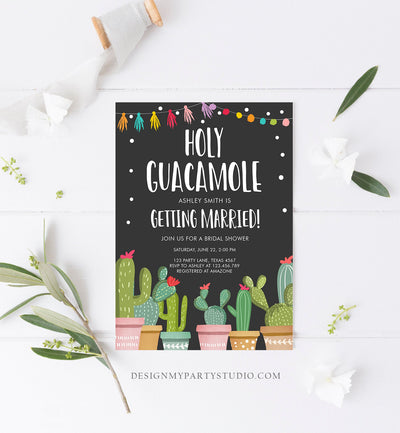 Editable Holy Guacamole Bridal Shower Invitation Fiesta Couples Shower Cactus Succulent Mexican Download Corjl Template Printable 0254