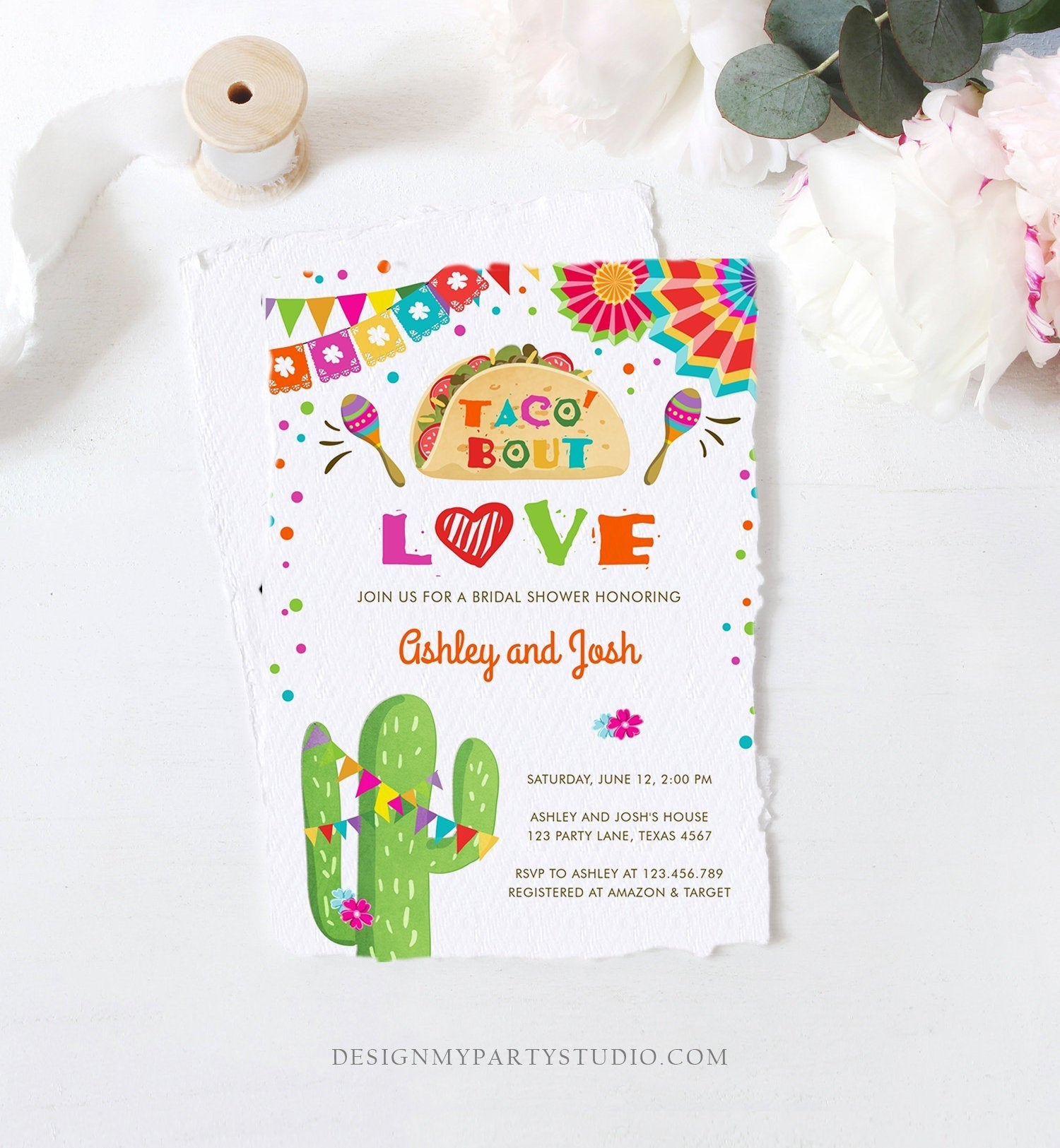 Editable Taco Bout Love Fiesta Couples Shower Invitation Coed Joined Cactus Mexican Instant Digital Download Corjl Template Printable 0045