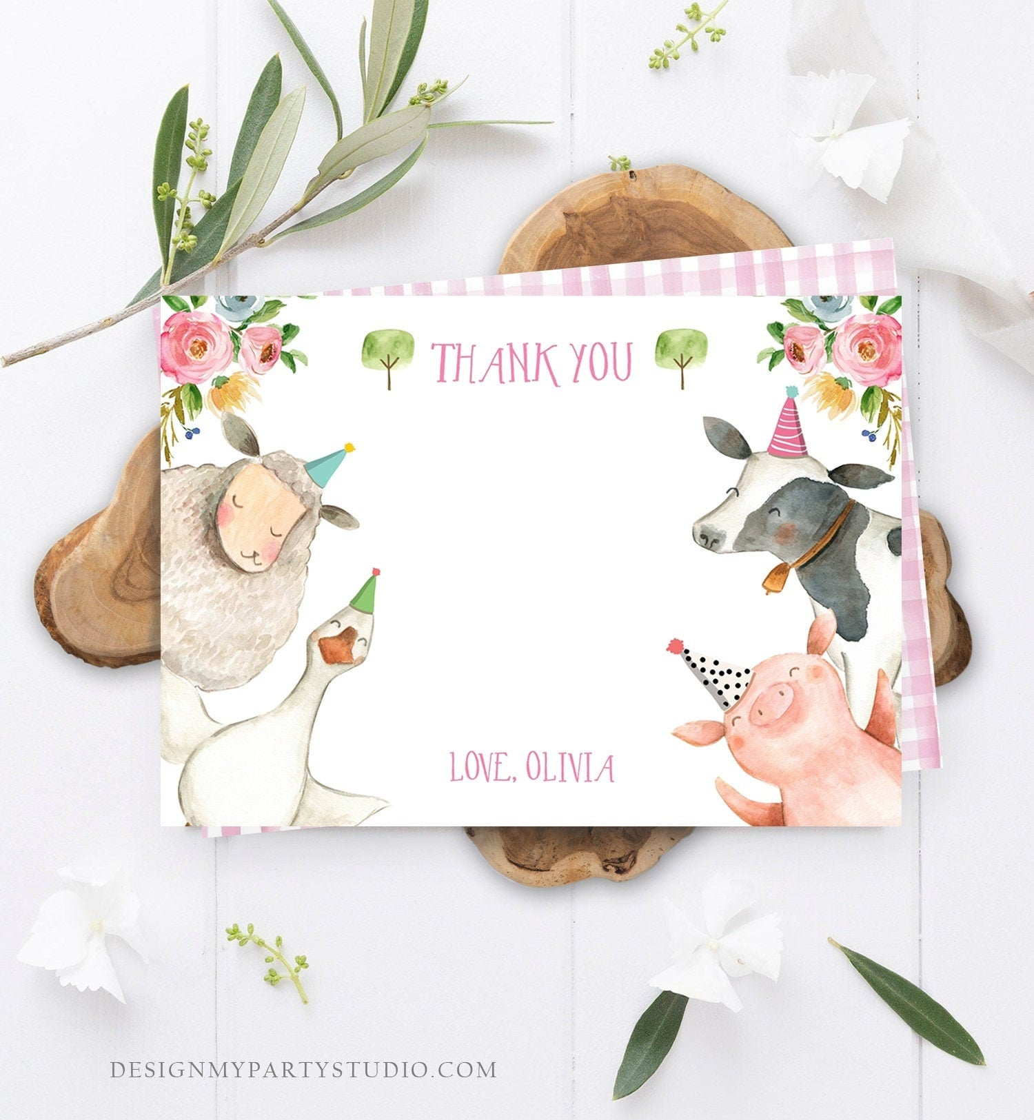 Editable Farm Animals Thank You Card Pink Gingham Farm Birthday Girl Barnyard Thank You Card Birthday Template Instant Download Corjl 0155