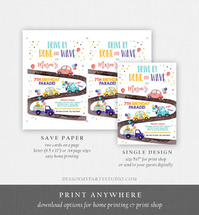 Editable Drive By Birthday Parade Invitation Virtual Party Invite Honk Wave Car Boy Girl Quarantine Instant Download Digital Corjl 0333