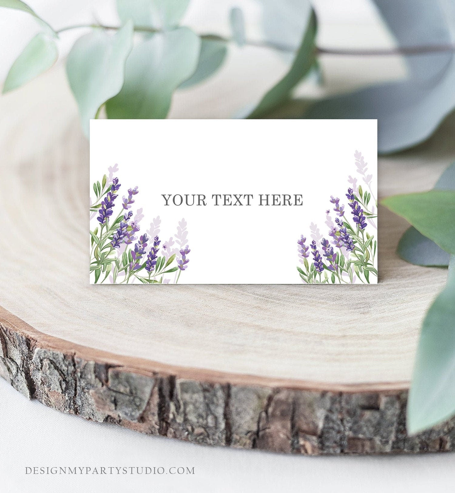 Editable Lavender Food Labels Place Card Lavender Tent Card Escort Card Bridal Shower Boho Greenery Floral Corjl Template Printable 0206