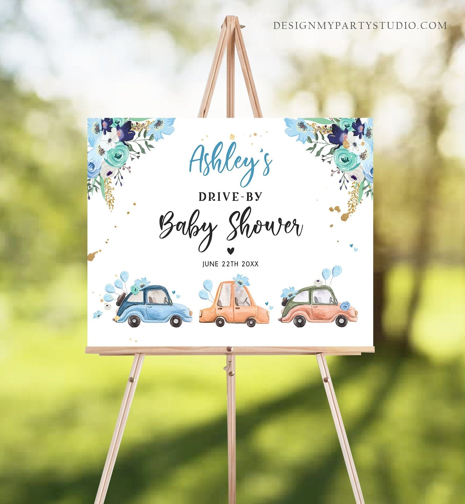 Editable Drive By Baby Shower Sign Welcome Navy Blue Gold Floral Boy Quarantine Party Drive Through Parade Yard Sign Corjl Template 0335