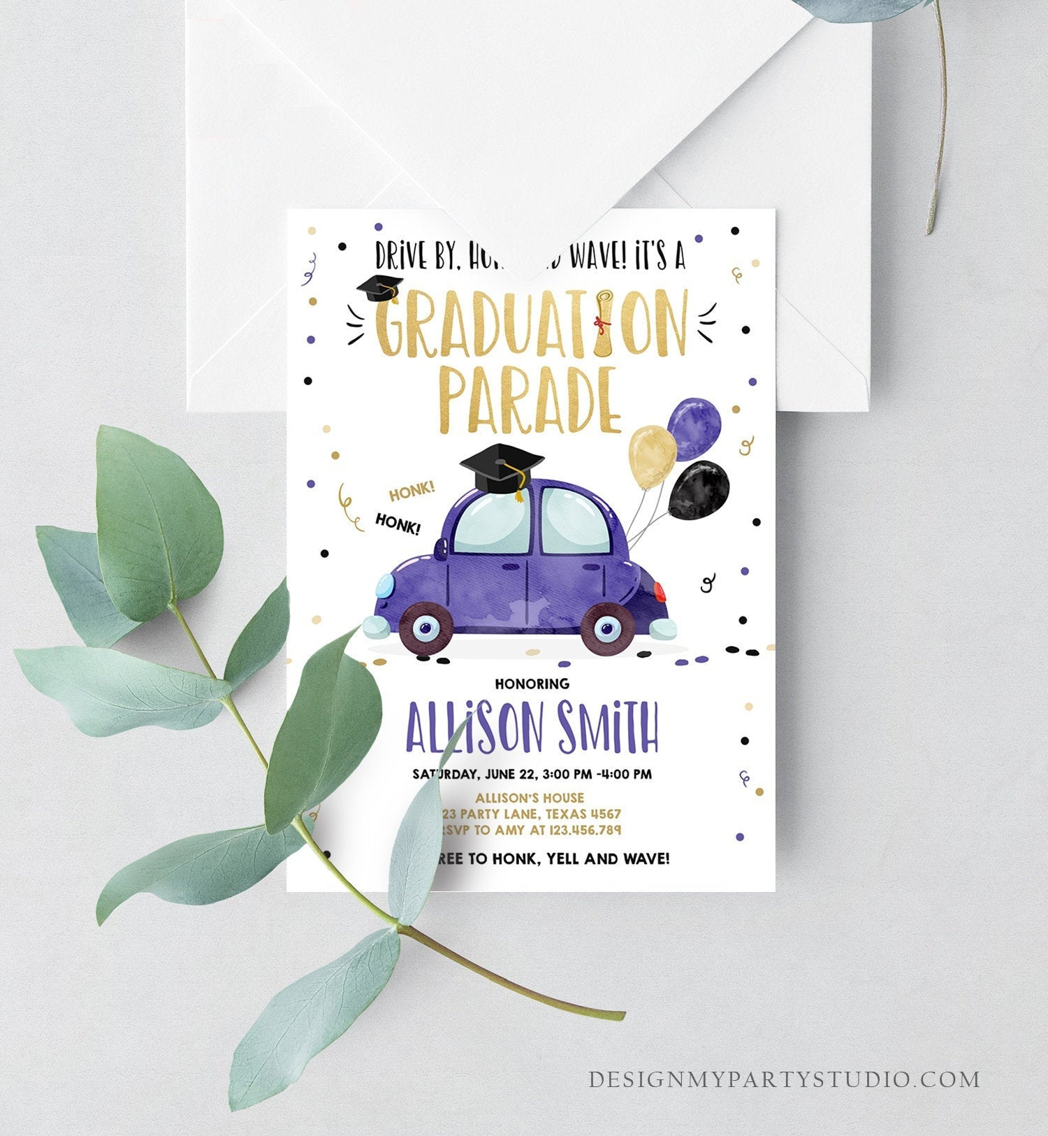 Editable Drive By Graduation Parade Invitation Drive Through Party Gold Blue Quarantine Graduate 2020 High School Grad Download Corjl 0337