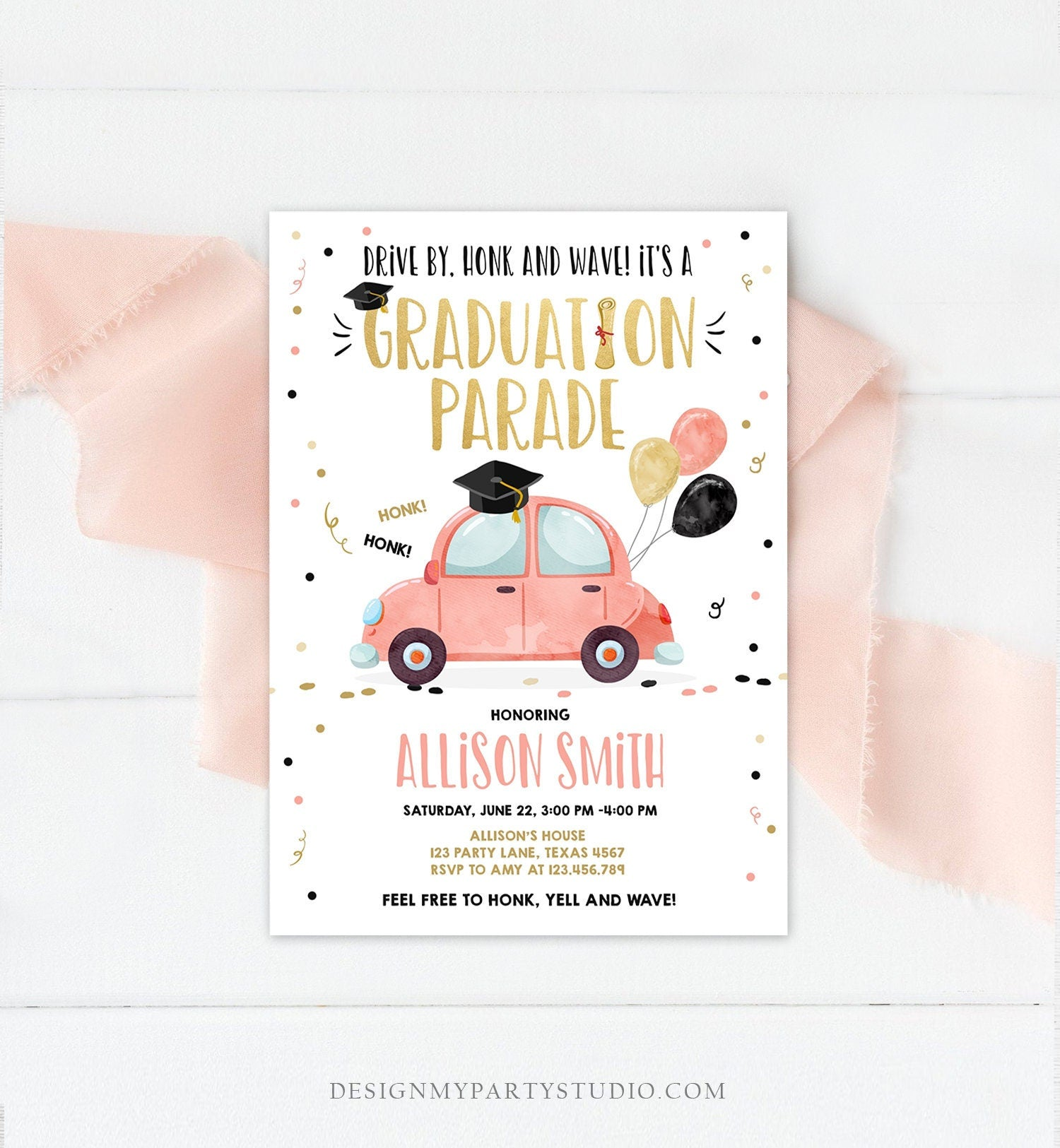 Editable Drive By Graduation Parade Invitation Drive Through Party Gold Coral Quarantine Graduate 2020 High School Grad Download Corjl 0337