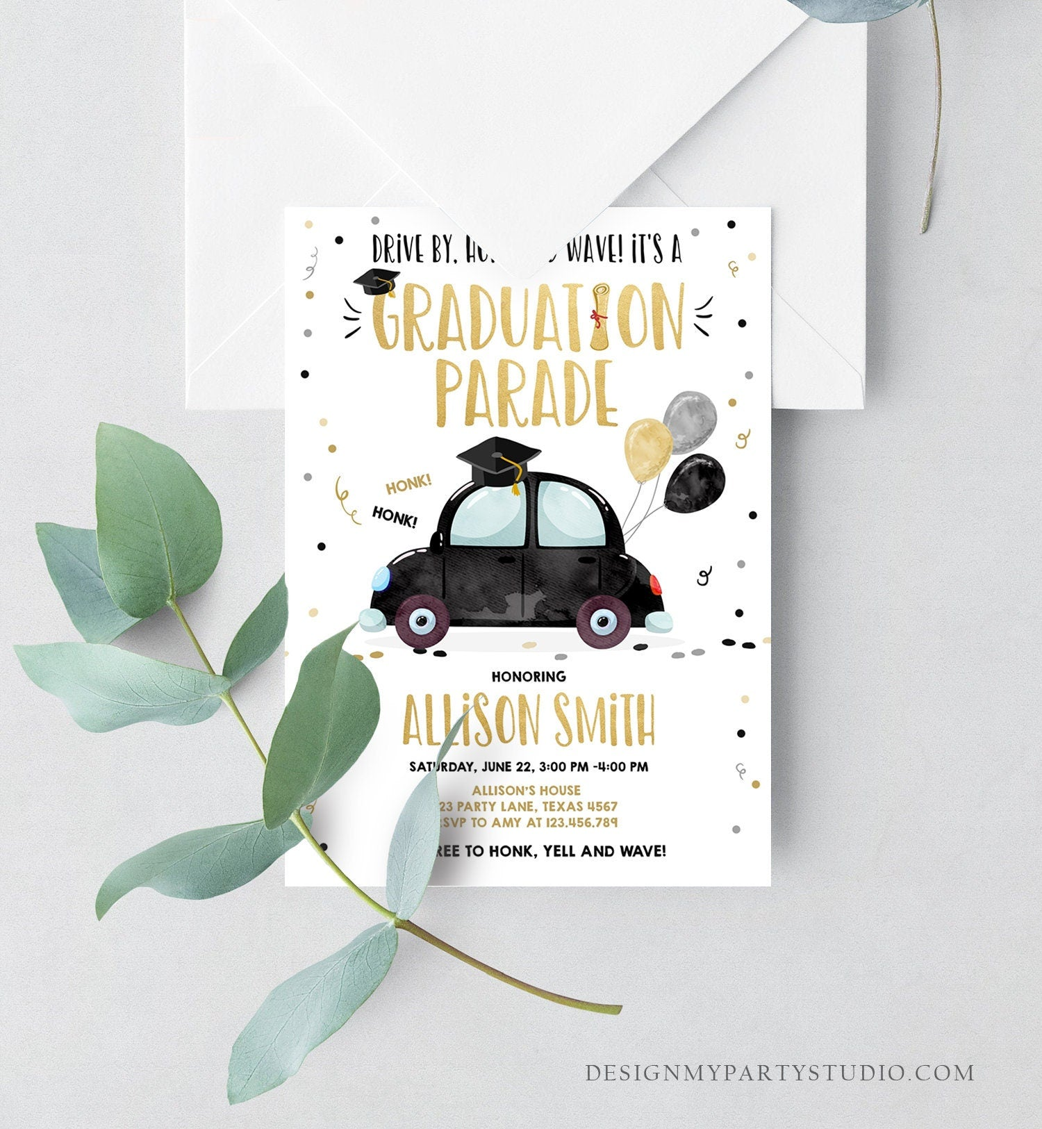 Editable Drive By Graduation Parade Invitation Drive Through Party Gold Black Quarantine Graduate 2020 High School Grad Download Corjl 0337