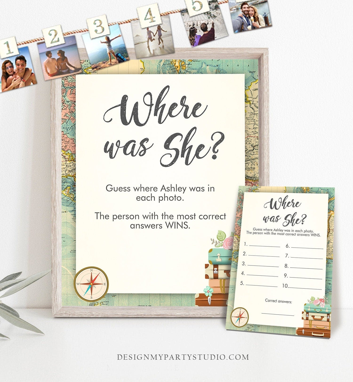 Editable Where was She Bridal Shower Game Wedding Shower Activity Travel Adventure Where were They World Map Template PRINTABLE Corjl 0044