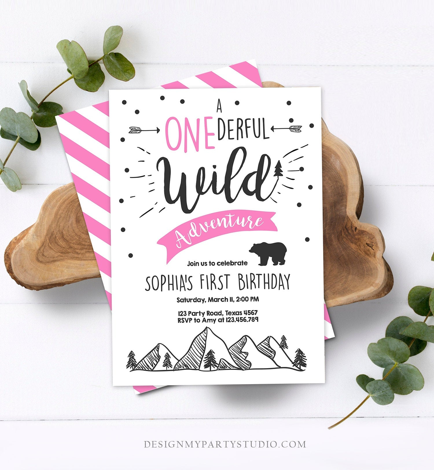 Editable A Onederful Wild Adventure First Birthday Invitation Wild Things Girl Pink Mountains Bear Lumberjack Woodland Corjl Template 0083