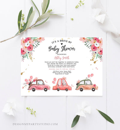 Editable Drive By Baby Shower Invitation Pink Girl Baby Shower Invite Quarantine Drive Trough Floral Sprinkle Template Download Corjl 0335