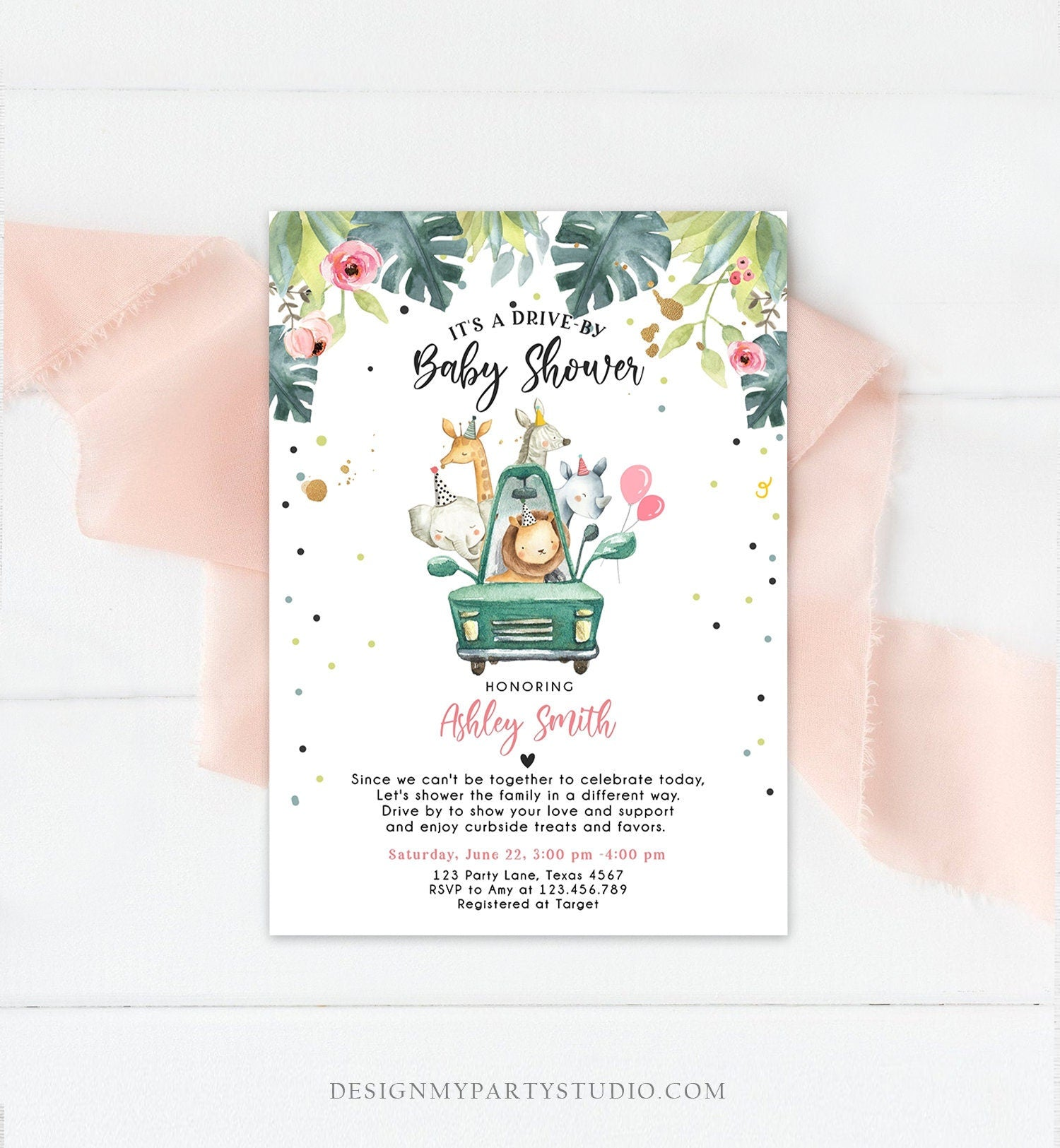 Editable Drive By Baby Shower Invitation Safari Animals Coed Shower Drive Through Quarantine Pink Girl Gold Template Download Corjl 0163