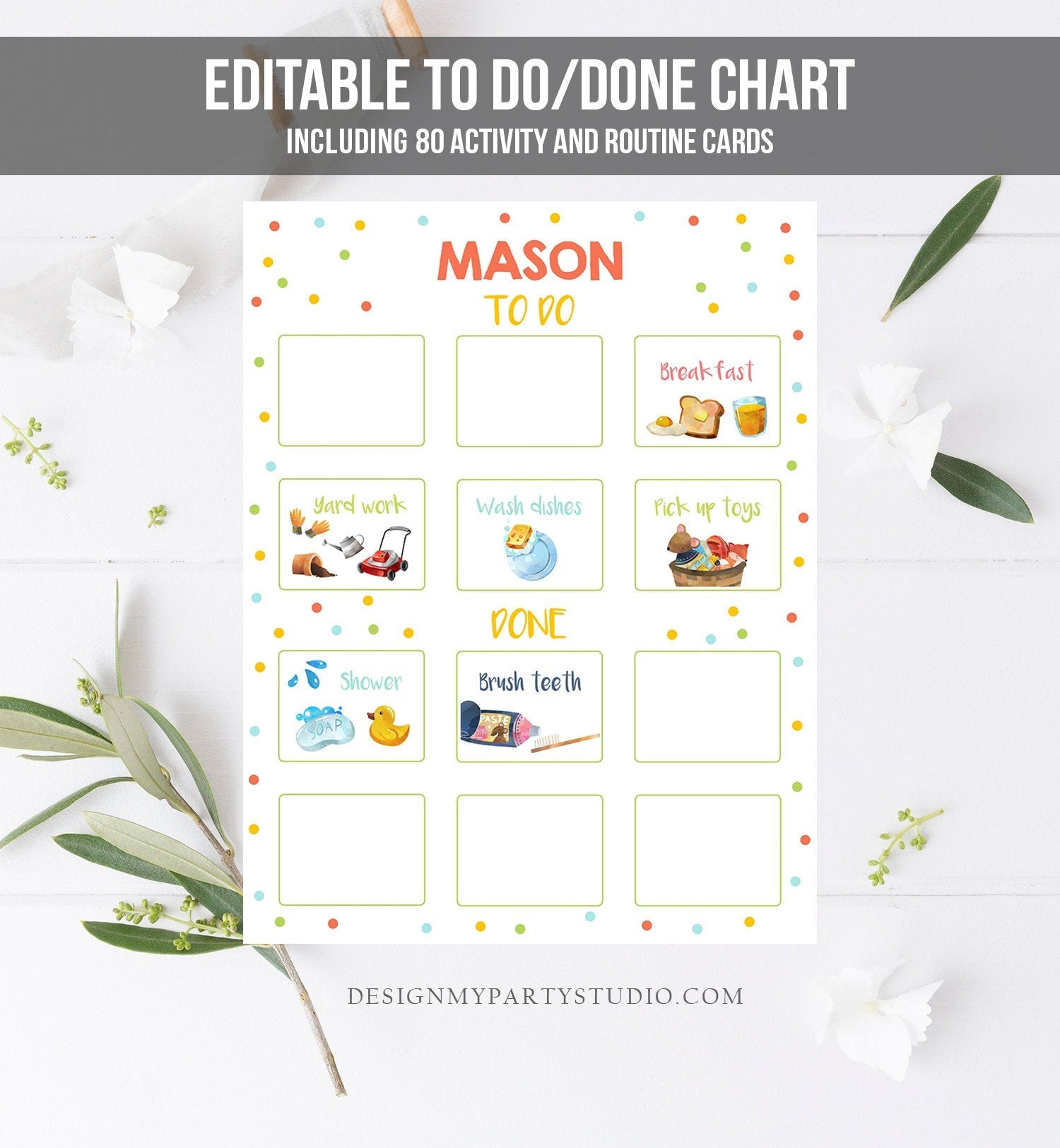 Editable Visual Schedule Kids Daily Routine Chart 80 Cards Chores School Homeschool To Do Done Preschoolers Calendar Daycare Corjl Template