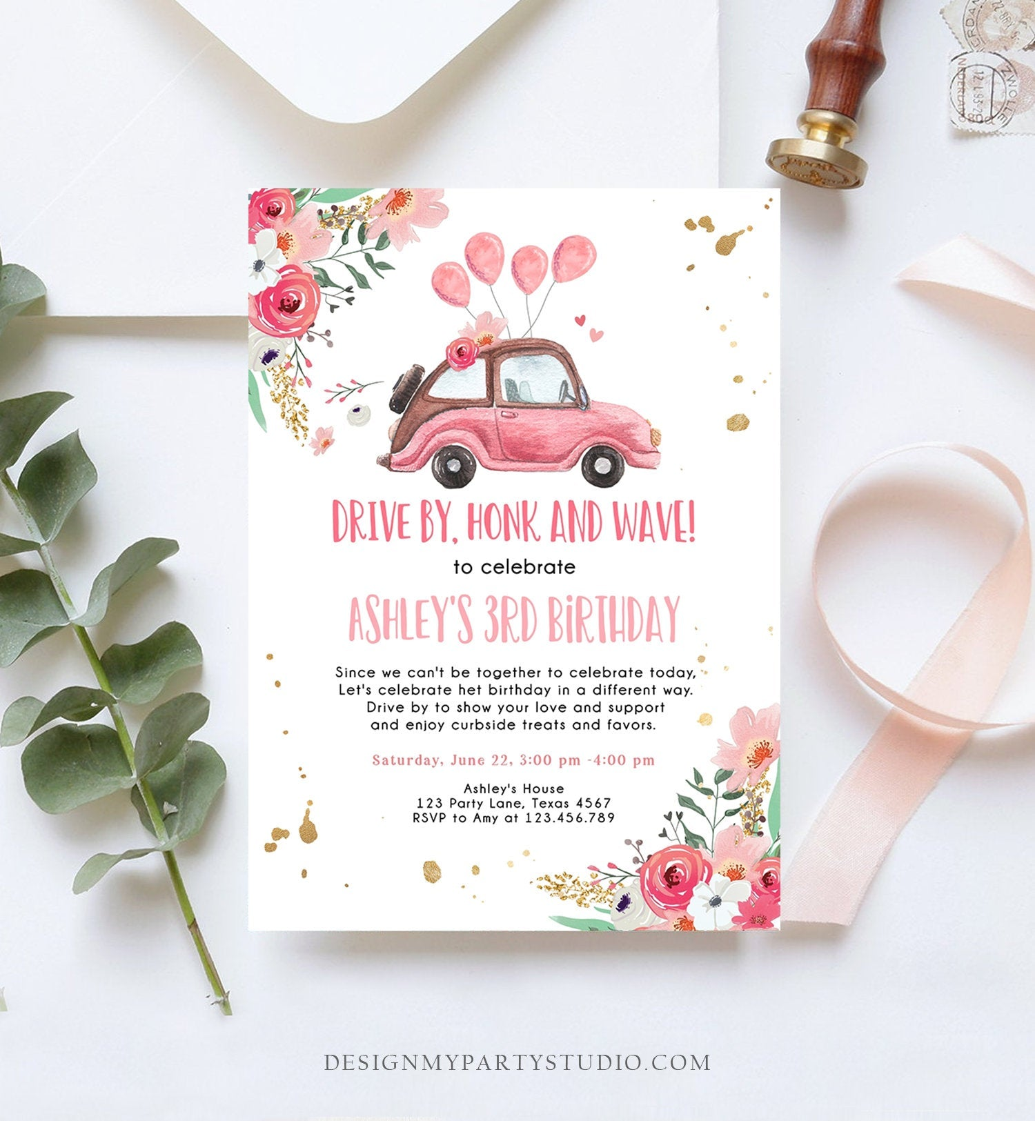 Editable Drive By Birthday Parade Invitation Virtual Party Invite Honk Wave Car Girl Pink Quarantine Instant Download Digital Corjl 0335