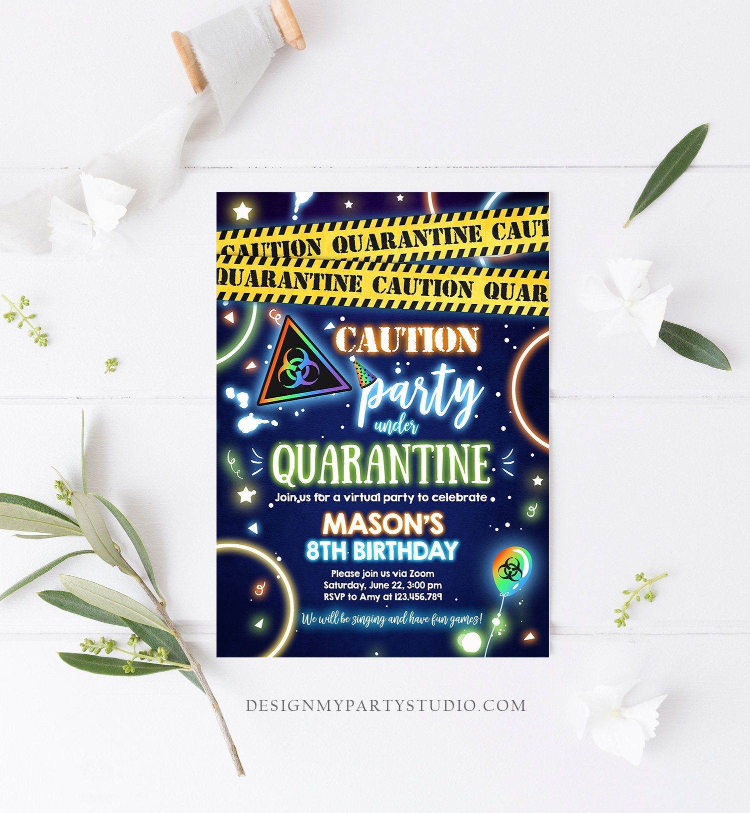 Editable Quarantine Birthday Invitation Virtual Party Quarantine Party Zoom Blue Boy No One Invited Hangout Corjl Template Printable 0334
