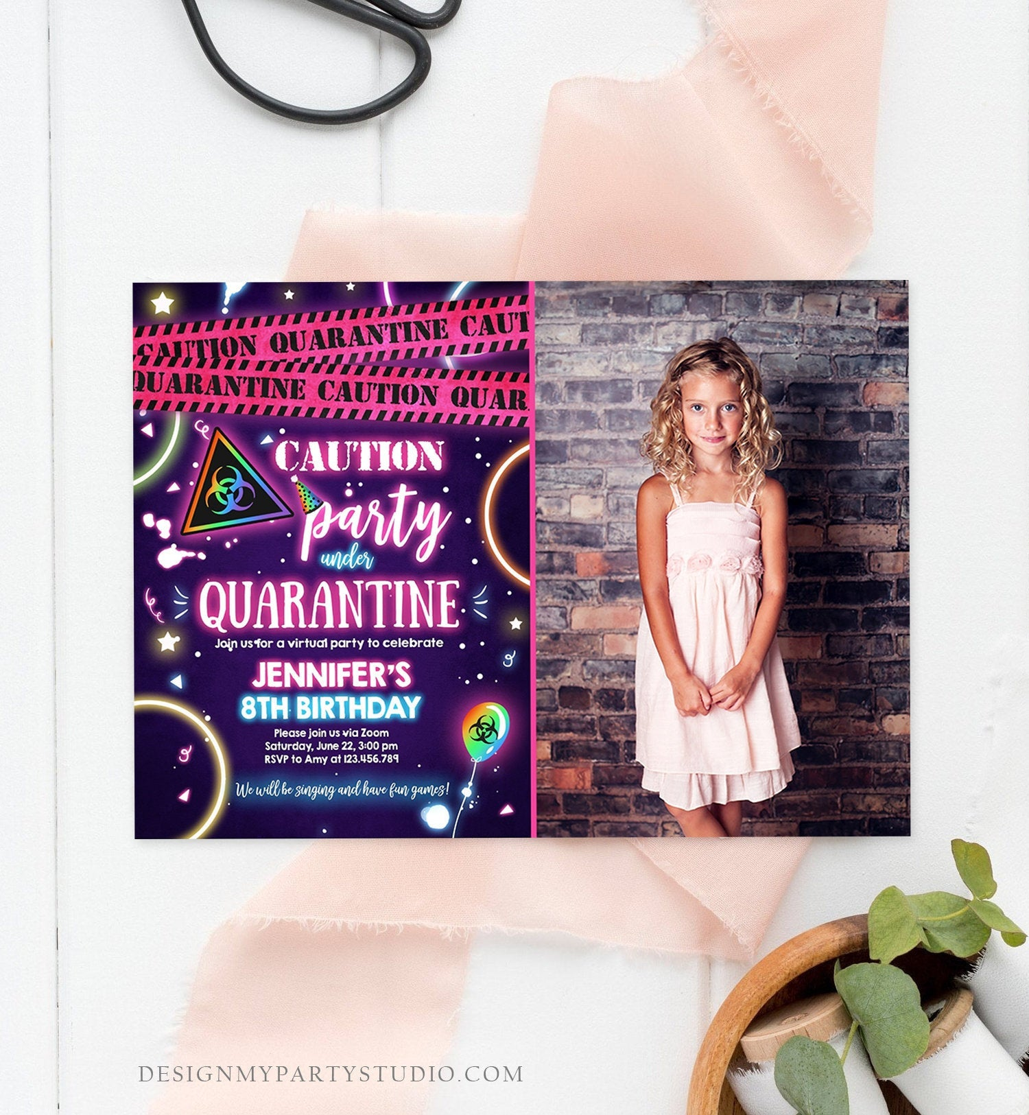 Editable Quarantine Birthday Invitation Virtual Party Quarantine Party Zoom Girl Pink No One Invited Hangout Corjl Template Printable 0334