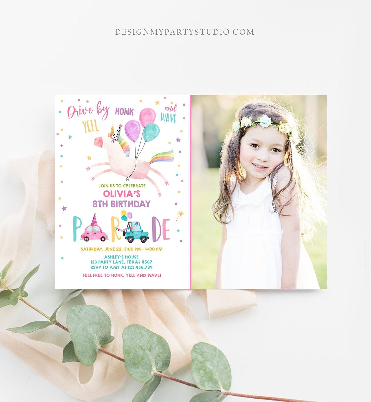 Editable Unicorn Drive By Birthday Parade Invitation Virtual Party Invite Honk Wave Car Girl Pink Quarantine Download Digital Corjl 0336