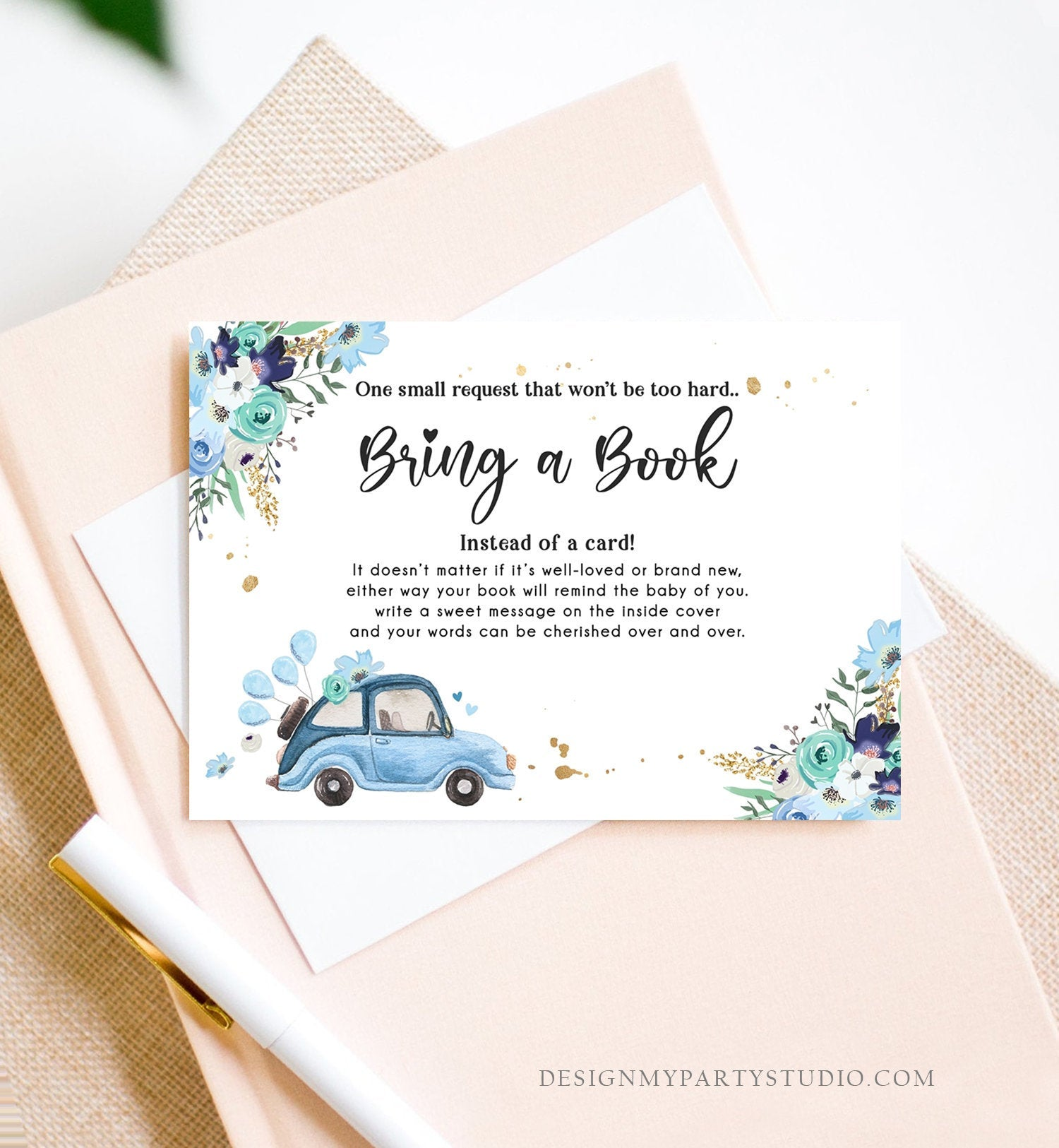 Editable Drive By Bring a Book Card Baby Shower Navy Blue Floral Boy Drive Through Book Request Baby Book Insert Ticket Corjl Template 0335