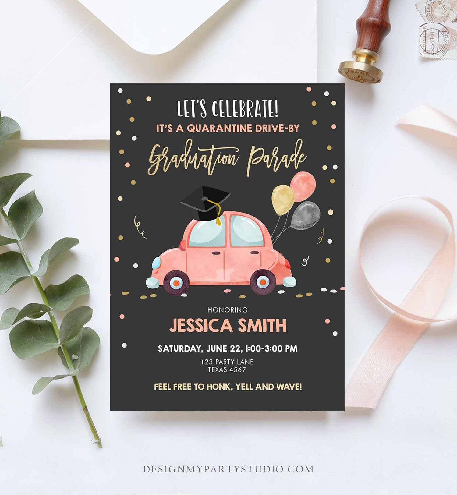 Editable Drive By Graduation Parade Invitation Virtual Party Coral Girl Graduate High School Grad Class 2020 Quarantine Digital Corjl 0337