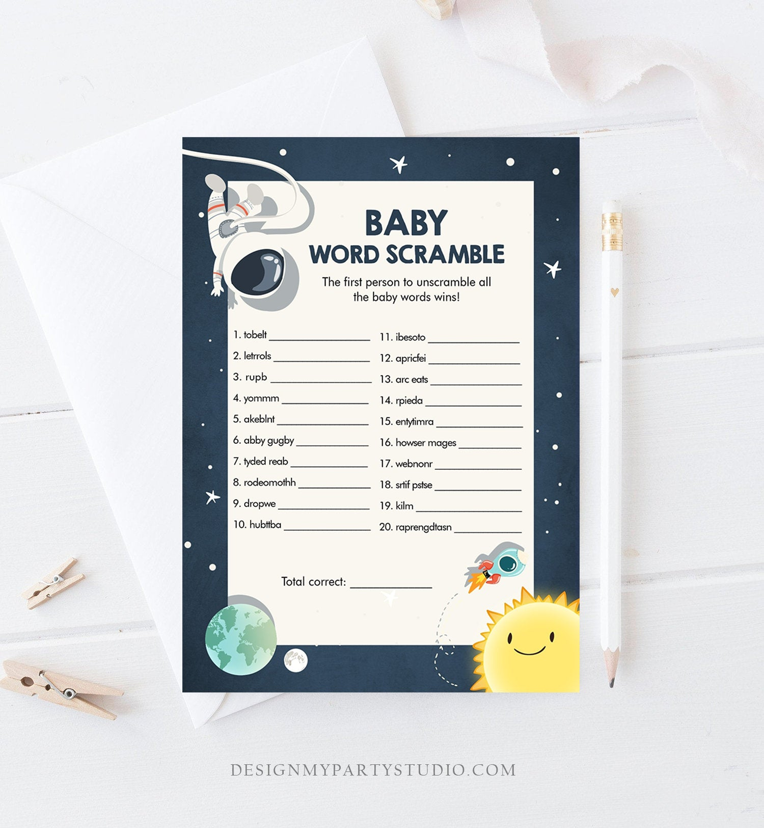 Editable Word Scramble Baby Shower Game Space Baby Shower Activity Astronaut Rocket Boy Space Ship Word Search Corjl Template Printable 0046