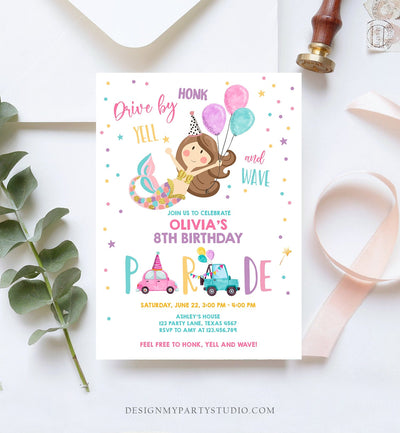 Editable Mermaid Drive By Birthday Parade Invitation Virtual Party Invite Honk Wave Car Girl Pink Quarantine Download Digital Corjl 0338