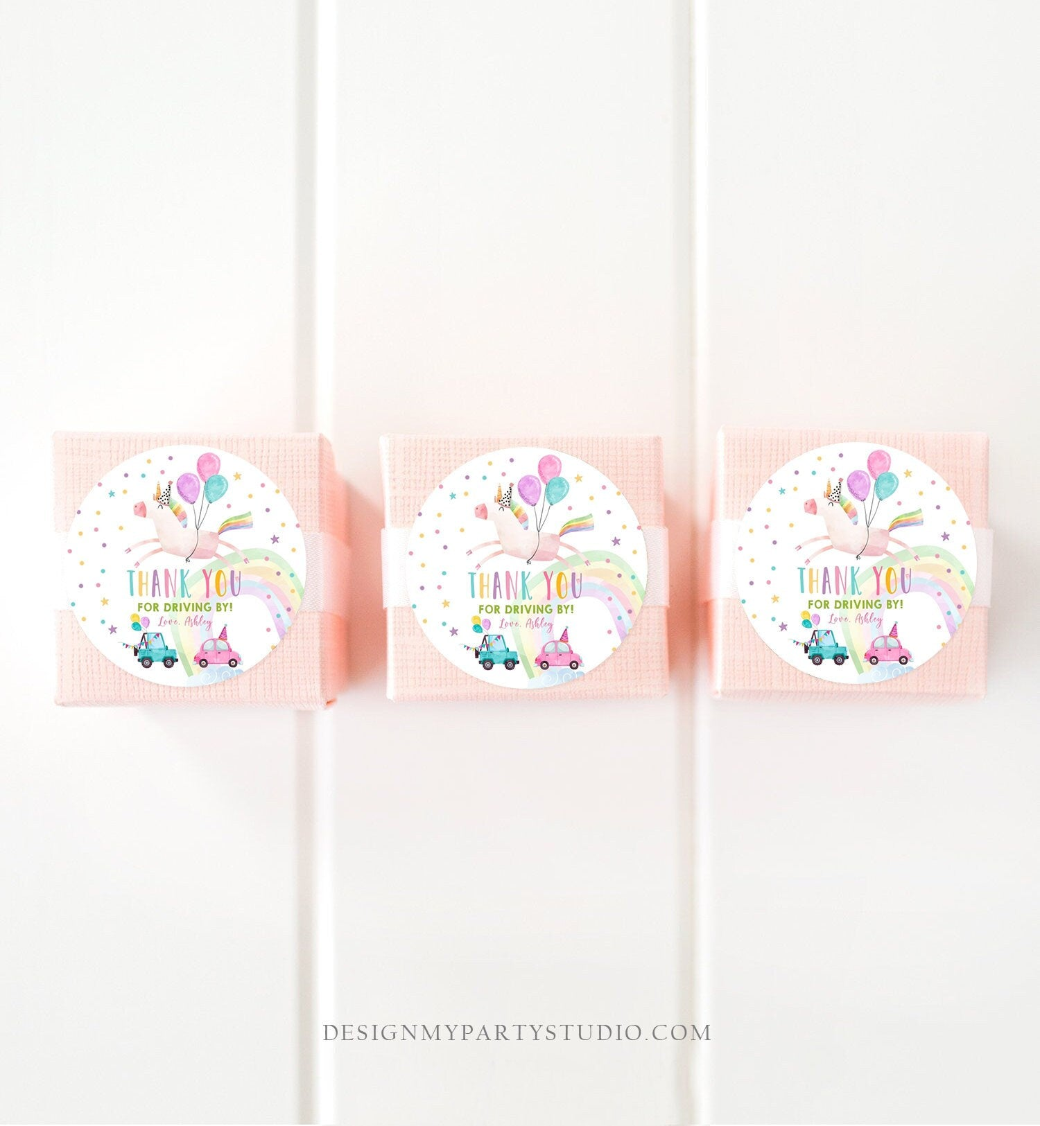 Editable Unicorn Drive By Favor Tag Drive By Birthday Parade Thank You Gift Tags Magical Rainbow Girl Round Sticker Corjl Template 0336