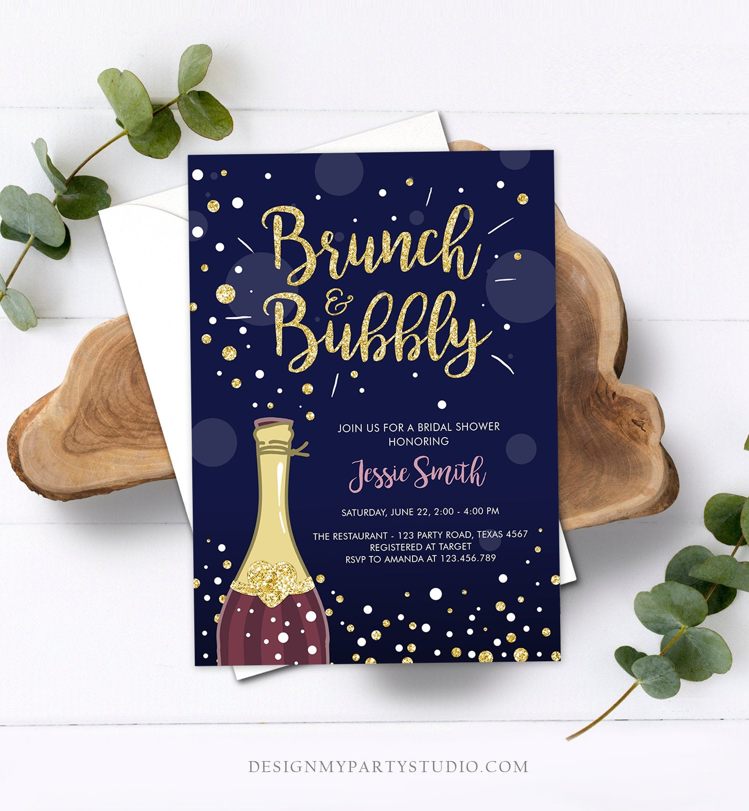 Editable Brunch and Bubbly Bridal Shower Invitation Floral Champagne Burgundy Gold Wedding Download Printable Template Digital Corjl 0051