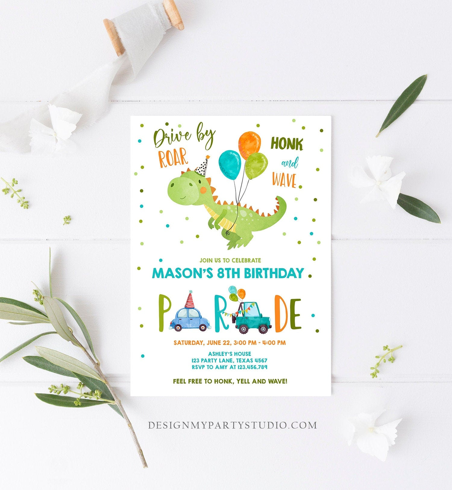 Editable Dinosaur Drive By Birthday Parade Invitation Virtual Party Invite Honk Wave Car Boy Dino Quarantine Download Digital Corjl 0340