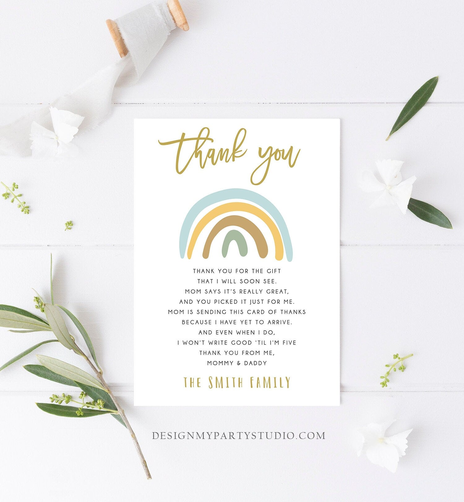 Editable Baby shower Thank you note Rainbow Thank You Rustic Boy Baby Shower Pastel Neutral Birthday Template Instant Download Corjl 0331