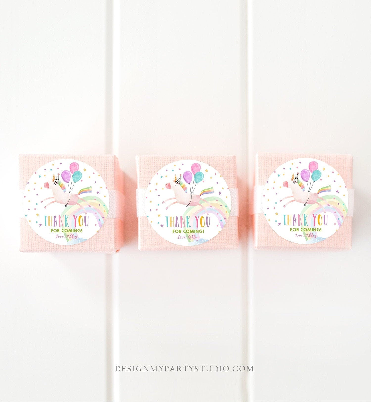 Editable Unicorn Favor Tags Unicorn Birthday Party Thank You Gift Tags Magical Rainbow Girl Round Sticker Corjl Pink Gold Template 0336