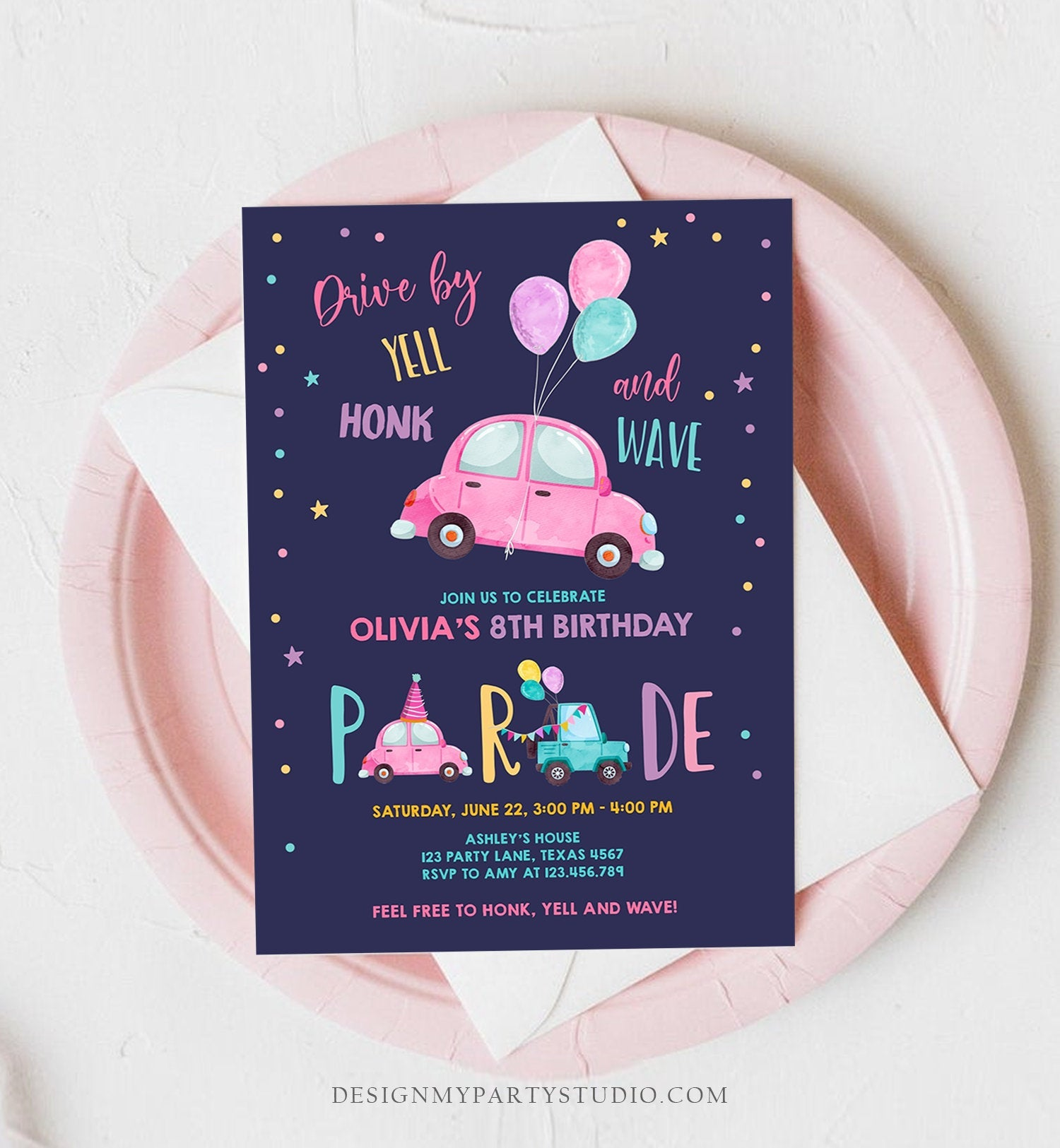 Editable Drive By Birthday Parade Invitation Balloons Rainbow Party Honk Wave Car Girl Pink Drive Through Download Corjl Template 0333