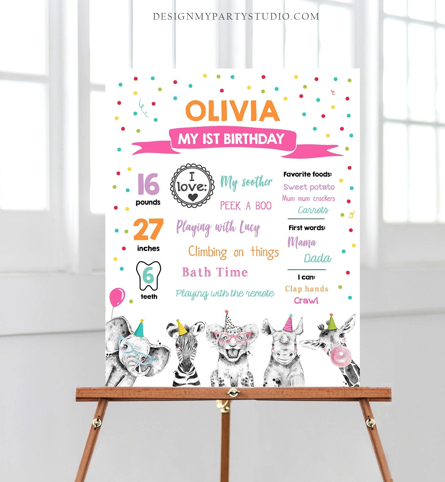 Editable Party Animals Birthday Milestones Sign Girl Pink Blue First Birthday 1st Safari Animals Wild Zoo Corjl Template Printable 0390
