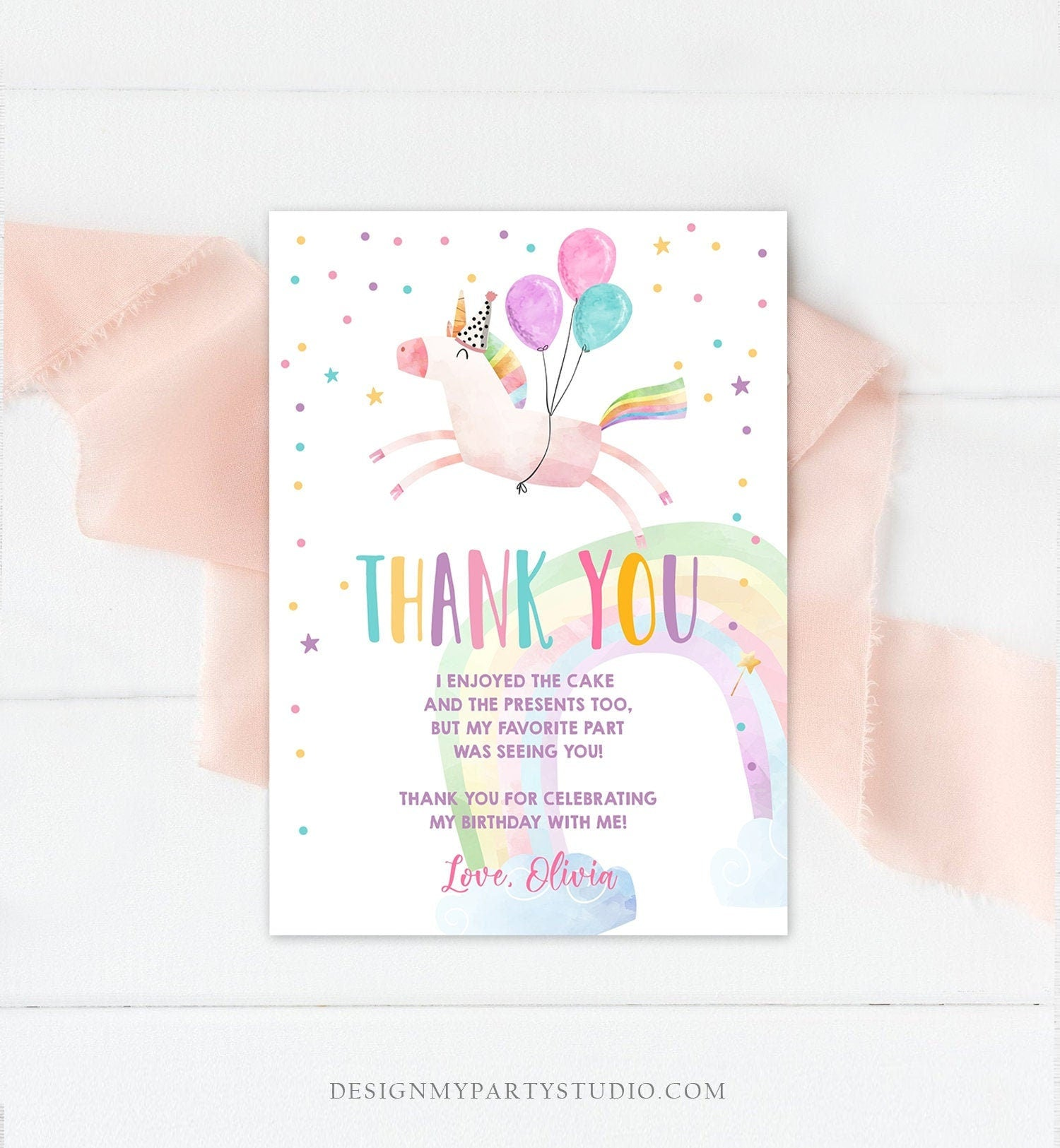 Editable Unicorn Thank You Card Girl Birthday Thank You Note Pink Gold Magical Party Baby Shower Download Corjl Template Printable 0336