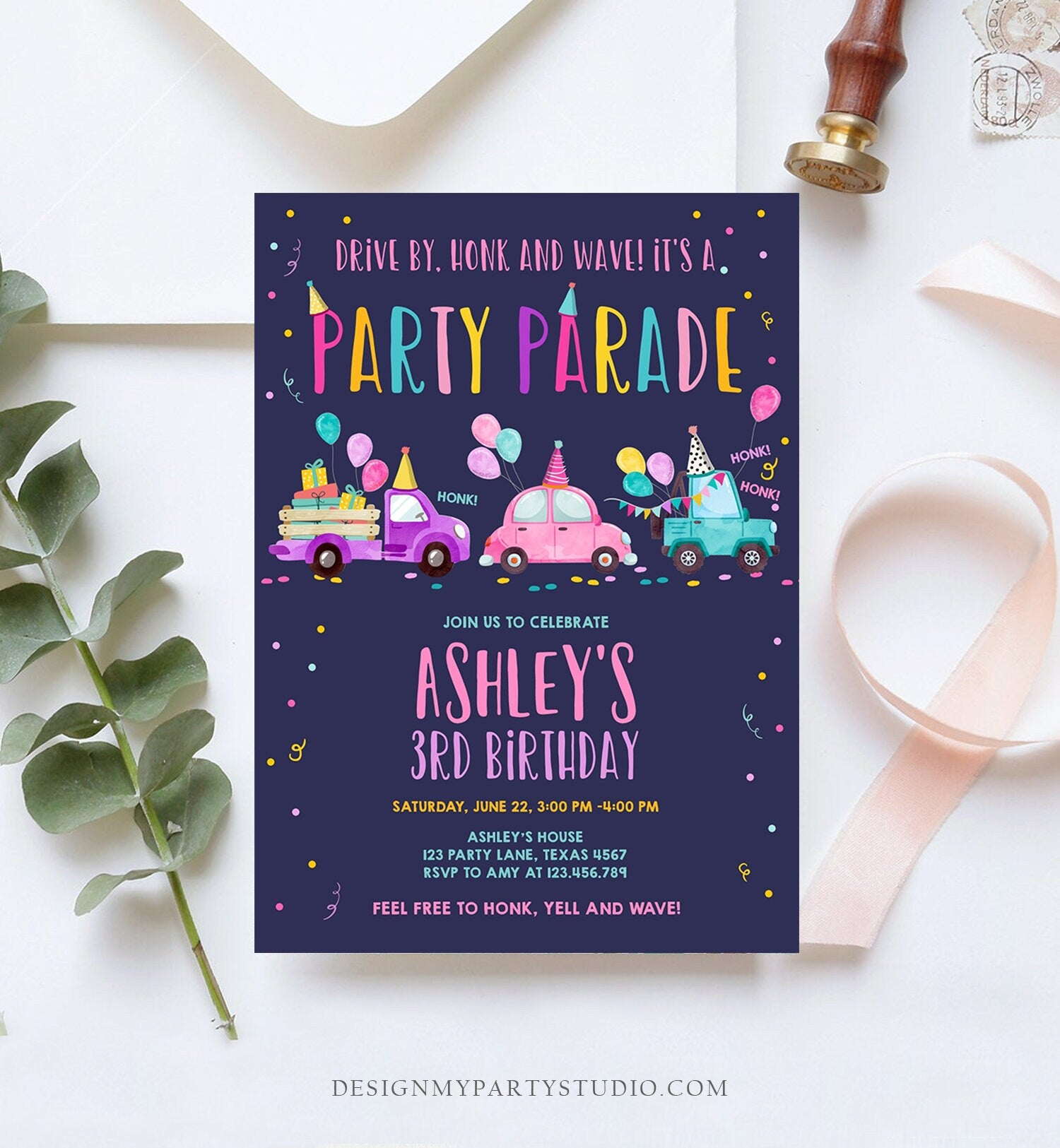 Editable Drive By Birthday Parade Invitation Virtual Party Invite Honk Wave Car Girl Pink Quarantine Instant Download Digital Corjl 0333