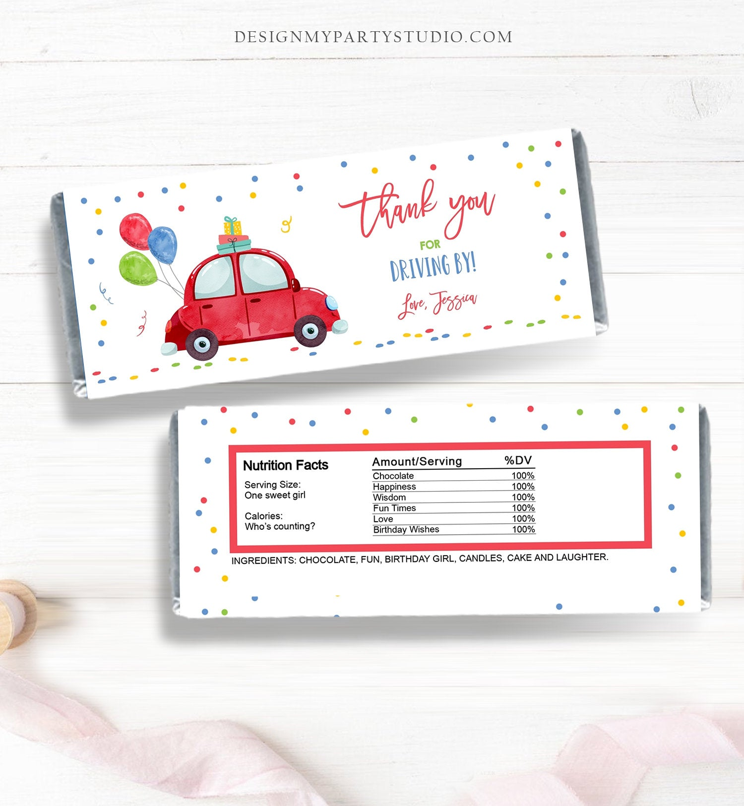 Editable Candy Bar Wrapper Drive By Birthday Candy Bar Wrapper Drive By Favors Party Parade Girl Boy Red Car Thank You PRINTABLE Corjl 0333