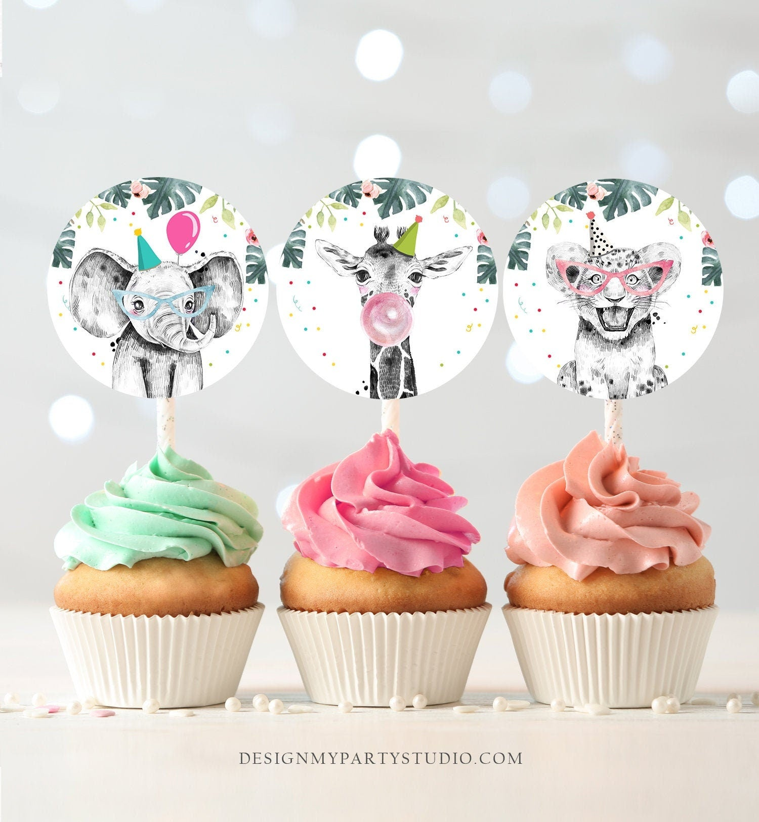 Party Animals Cupcake Toppers Favor Tags Birthday Party Decoration Safari Animals Zoo Birthday Wild One download Digital PRINTABLE 0322