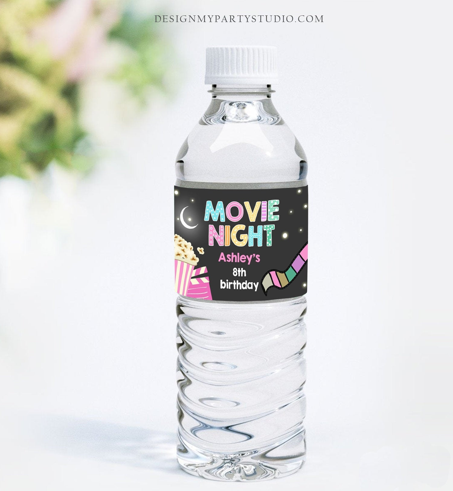 Editable Water Bottle Labels Move Night Girl Birthday Backyard Movie Party Popcorn Pink Slumber Printable Bottle Labels Template Corjl 0042