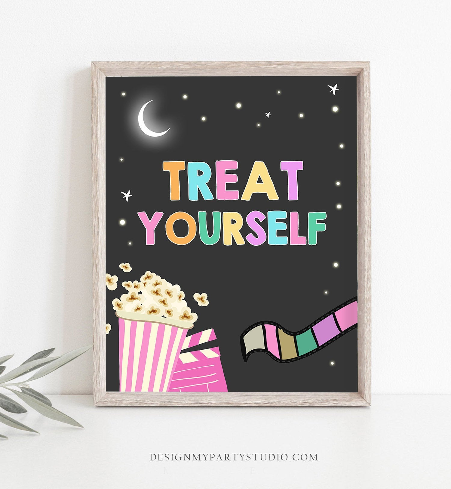 Treat Yourself Sign Movie Night Birthday Sign Girl Pink Treat Yo Self Sign Dessert Sign Food Snacks Decorations Backyard PRINTABLE 0042