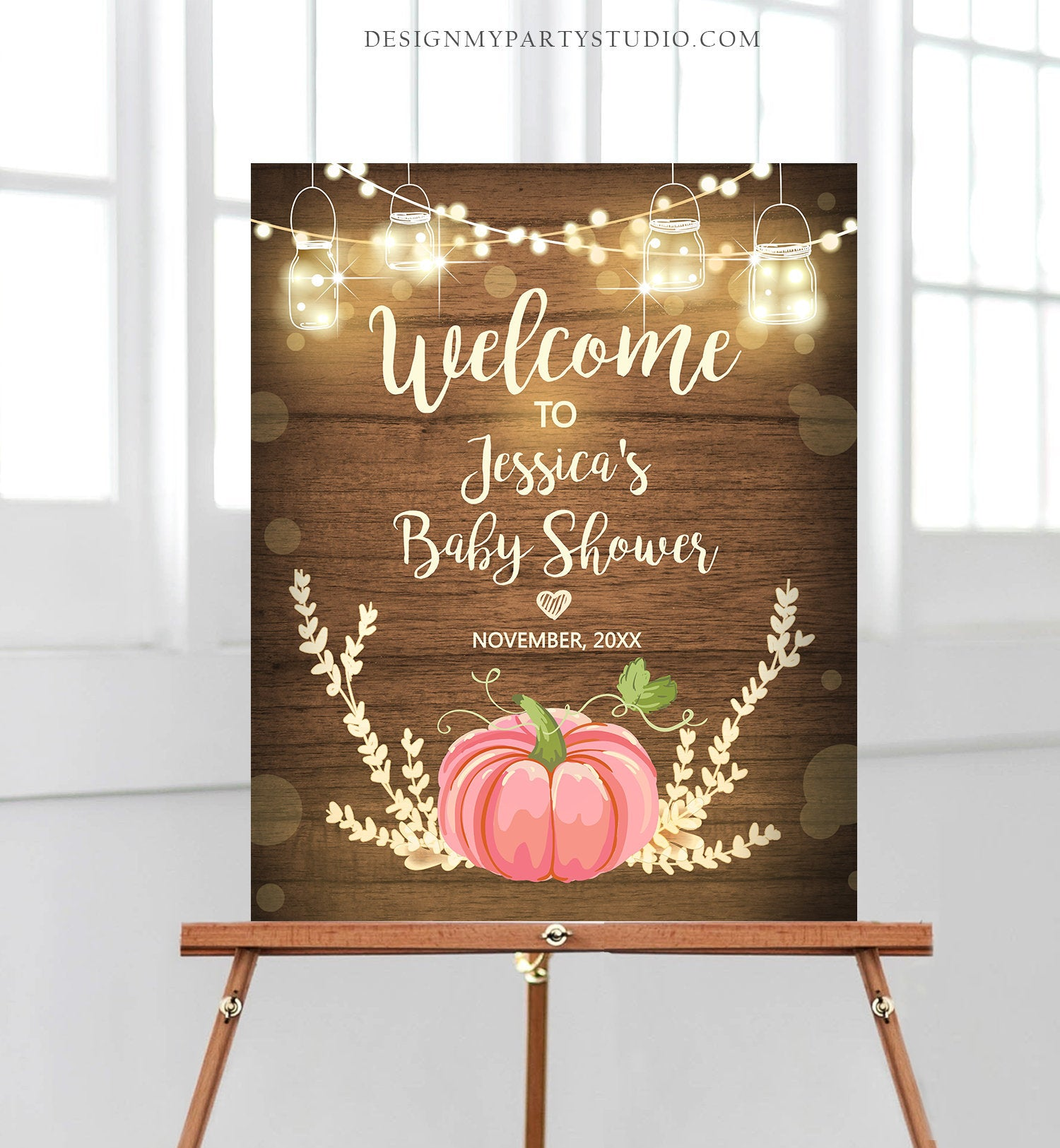 Editable Pink Pumpkin Baby Shower Welcome Sign Rustic Wood Girl Birthday Couples Shower Fall Autumn Pumpkin Party Corjl Template 0015