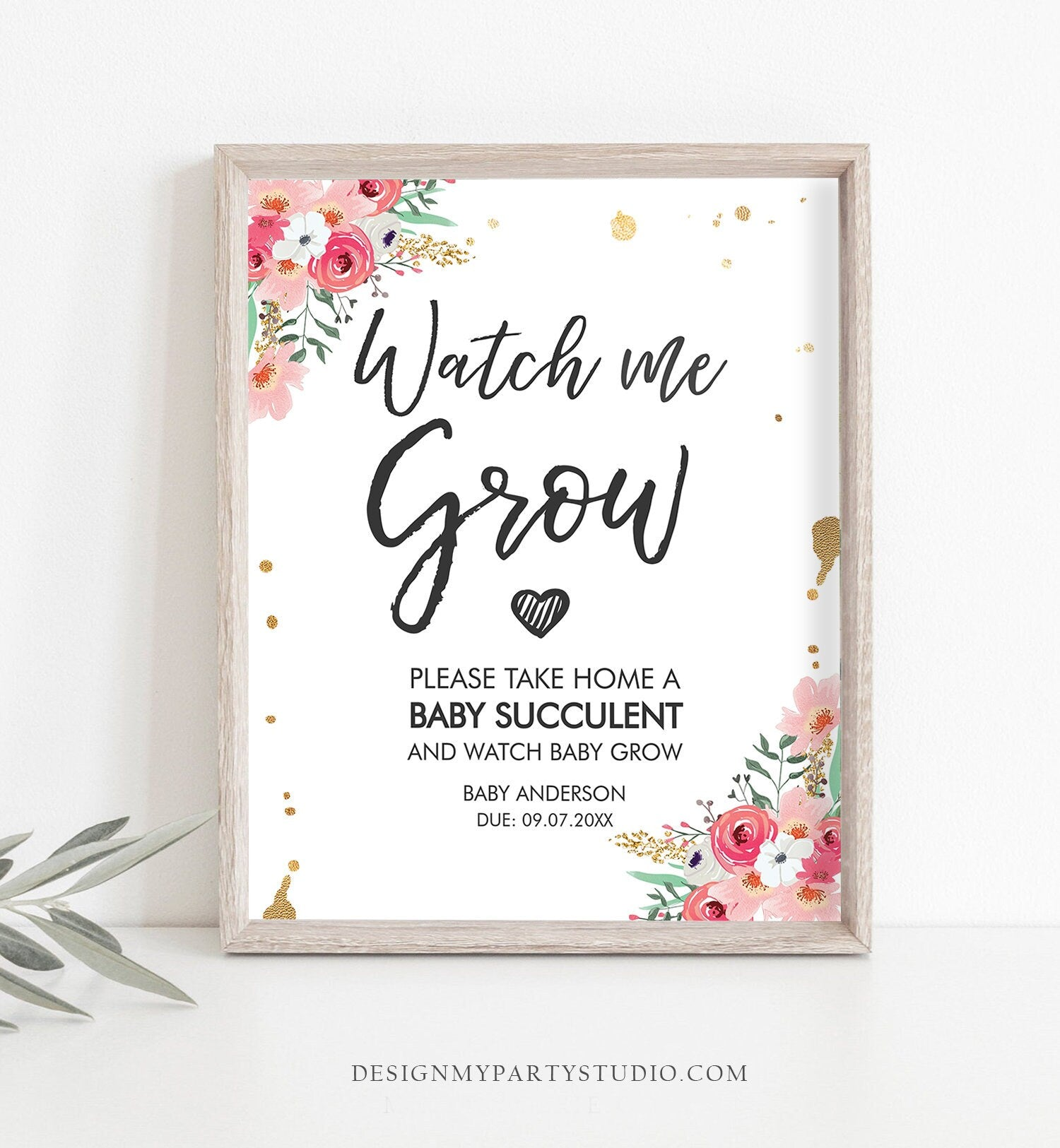 Editable Watch Me Grow Baby Shower Favors Watch Me Grow Sign Favor Sign Succulent Sign Floral Take a Succulent Template Corjl PRINTABLE 0030