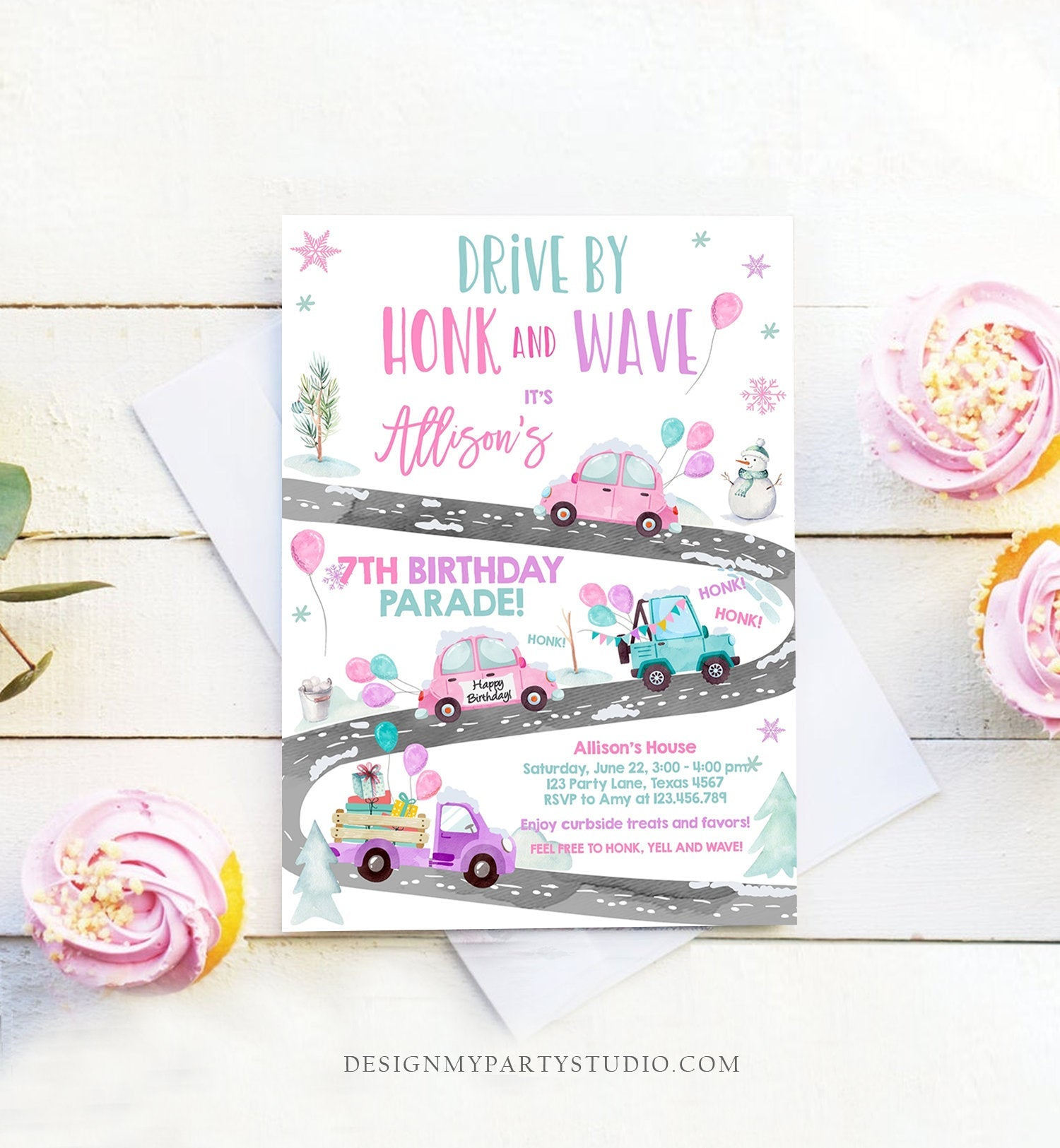Editable Winter Drive By Birthday Invitation Parade Winter Onederland Virtual Party Invite Girl Pink Quarantine Download Digital Corjl 0333