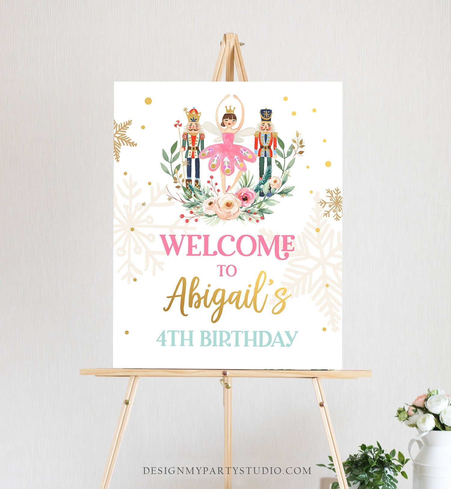 Editable Nutcracker Birthday Welcome Sign Winter Birthday Girl Sugar Plum Fairy Christmas Party Holiday Sign Template PRINTABLE Corjl 0352