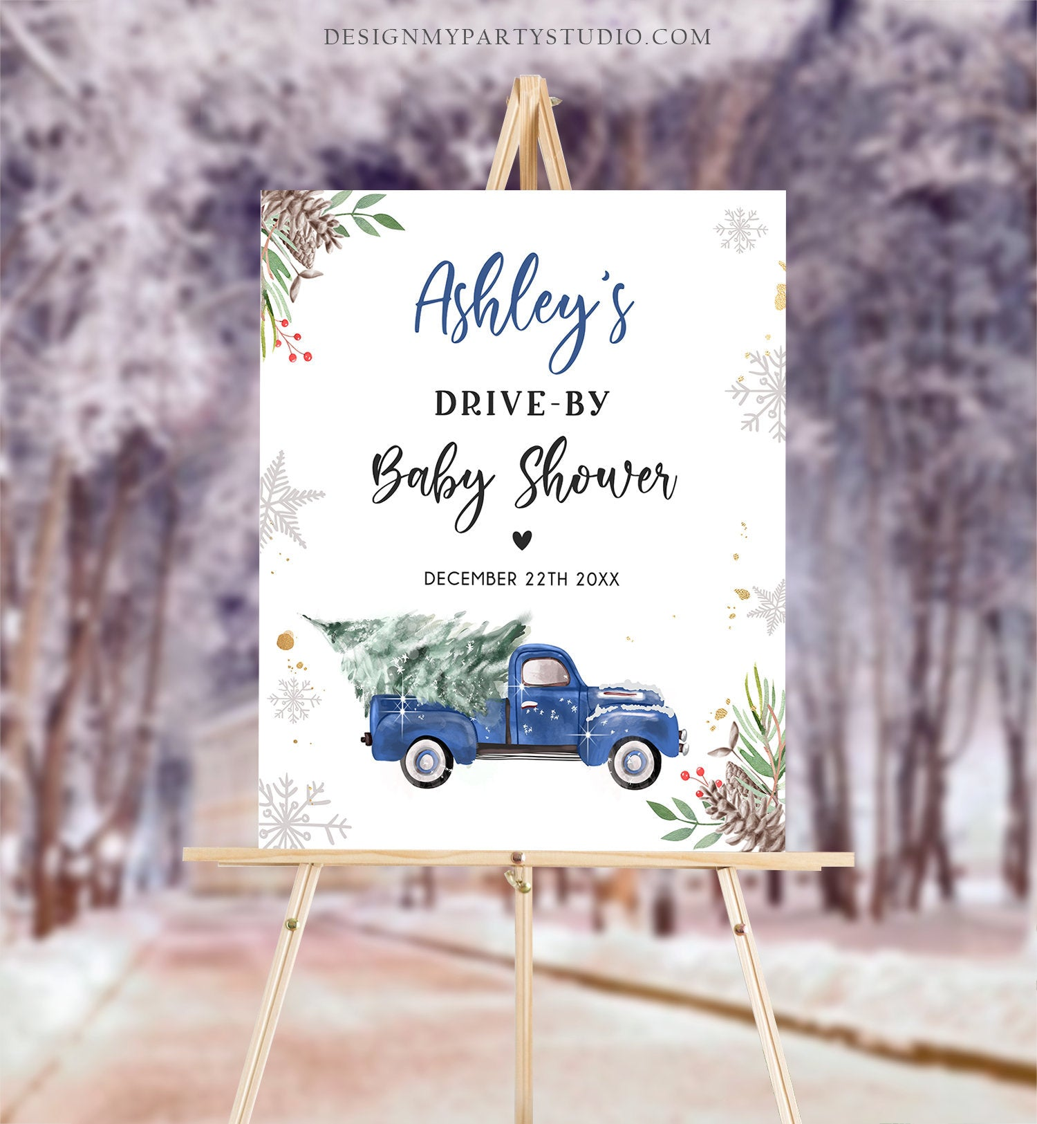 Editable Drive By Baby Shower Welcome Sign Christmas Tree Blue Truck Winter Yard Snow Snowflakes Watercolor Corjl Template PRINTABLE 0356